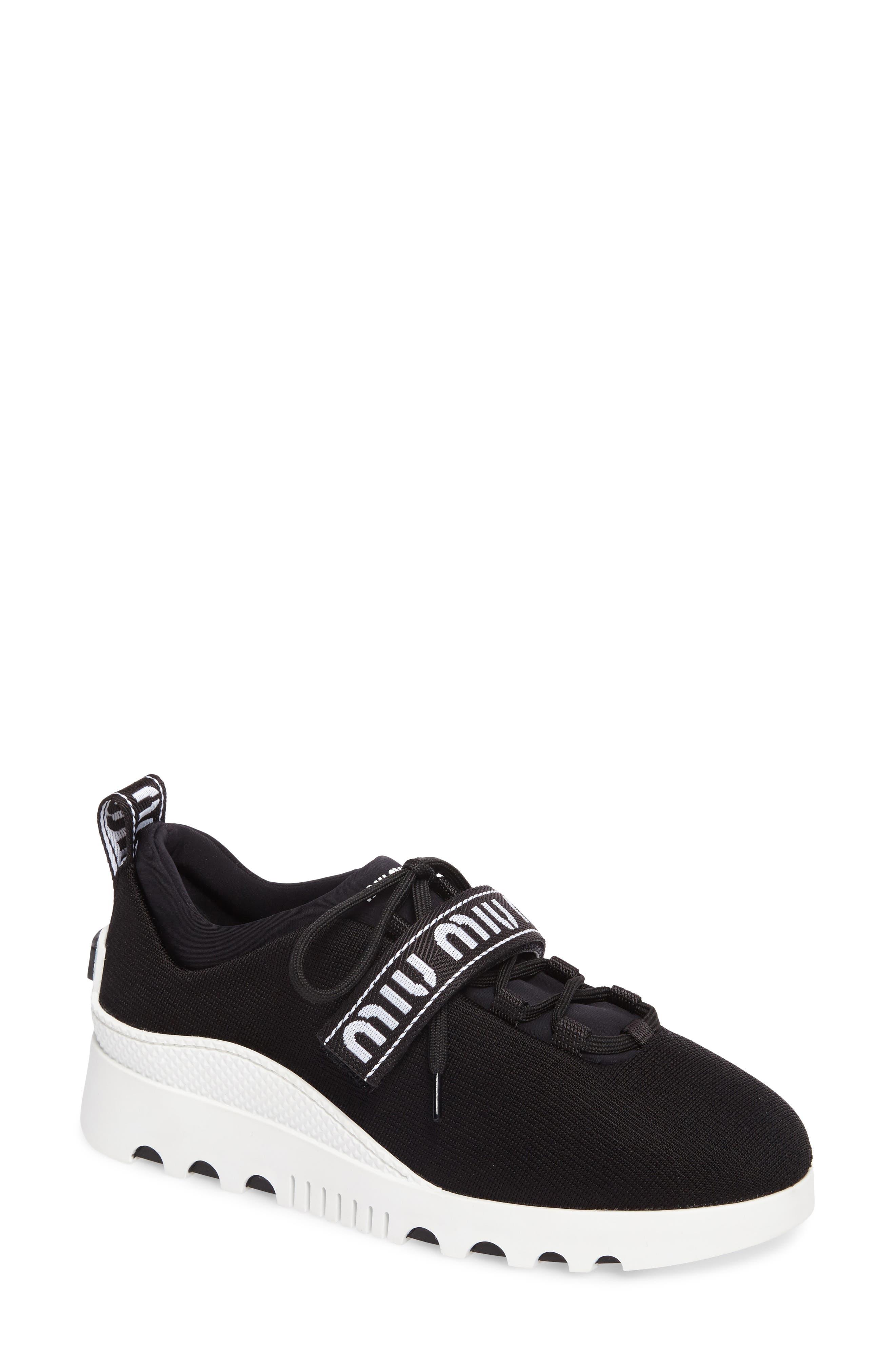 Logo Strap Platform Sneaker,                             Main thumbnail 1, color,                             BLACK