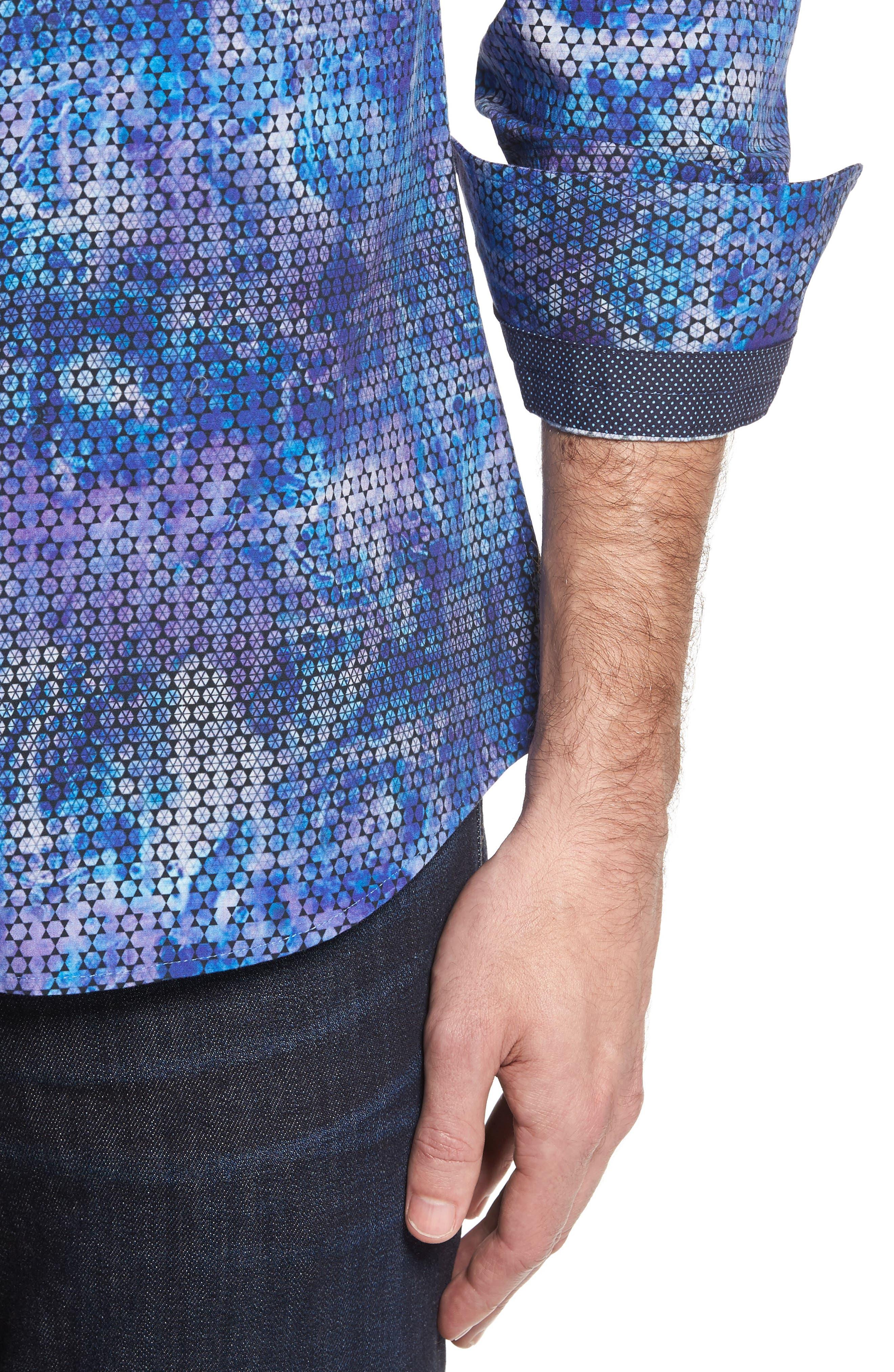 Slim Fit Geometric FX Print Sport Shirt,                             Alternate thumbnail 4, color,                             PURPLE