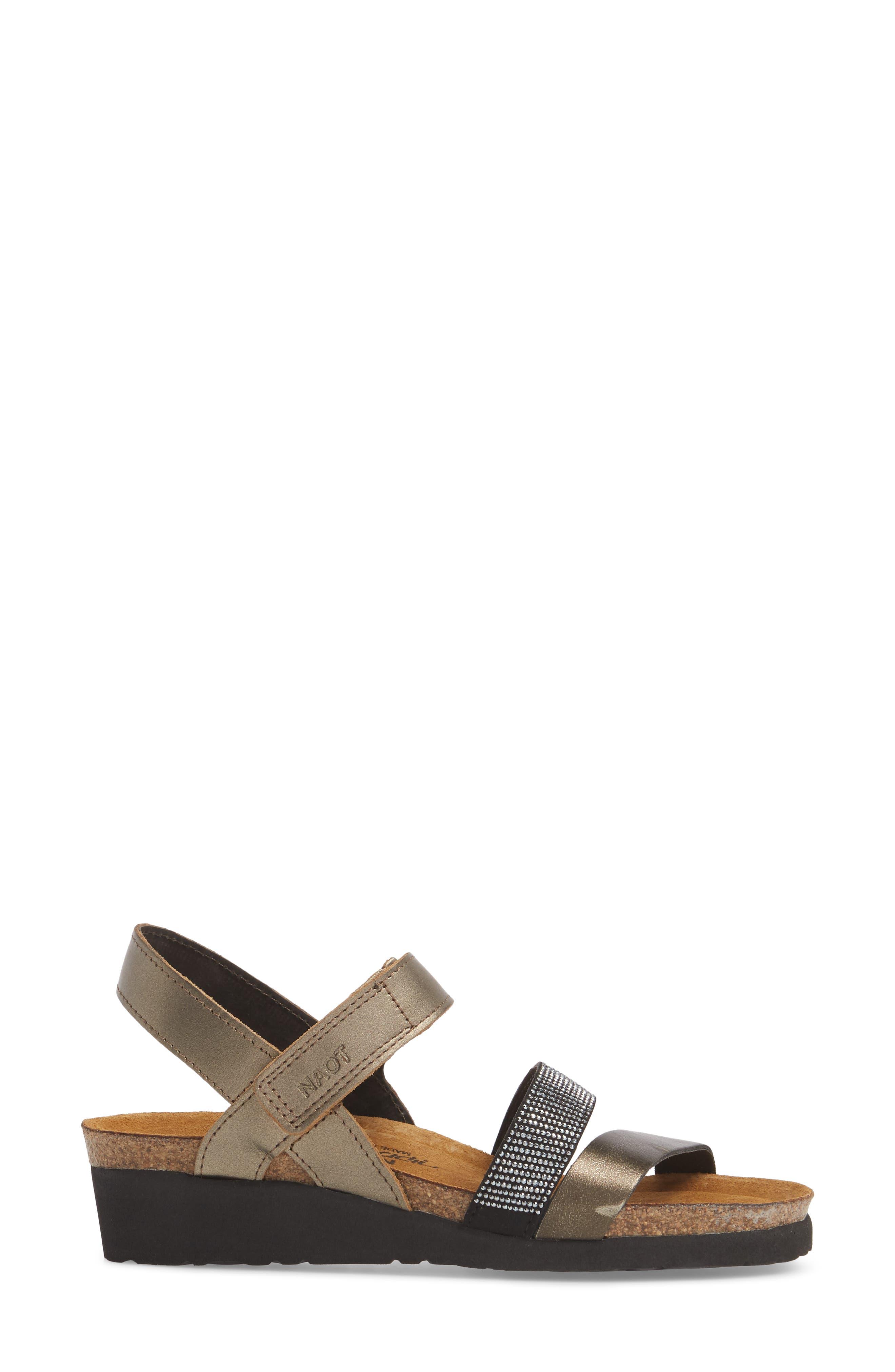 'Krista' Sandal,                             Alternate thumbnail 3, color,                             PEWTER LEATHER