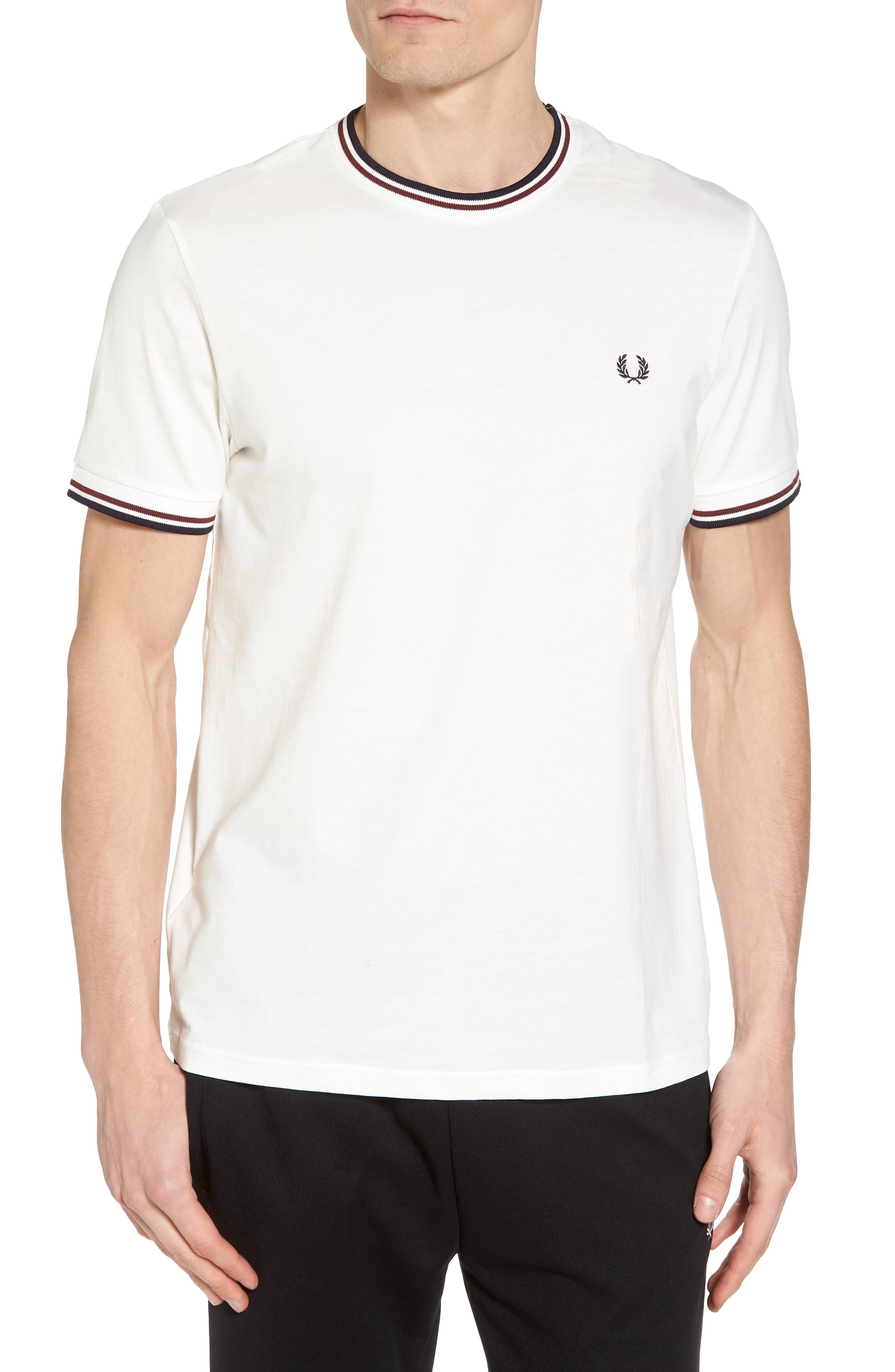 FRED PERRY,                             Tipped T-Shirt,                             Main thumbnail 1, color,                             100