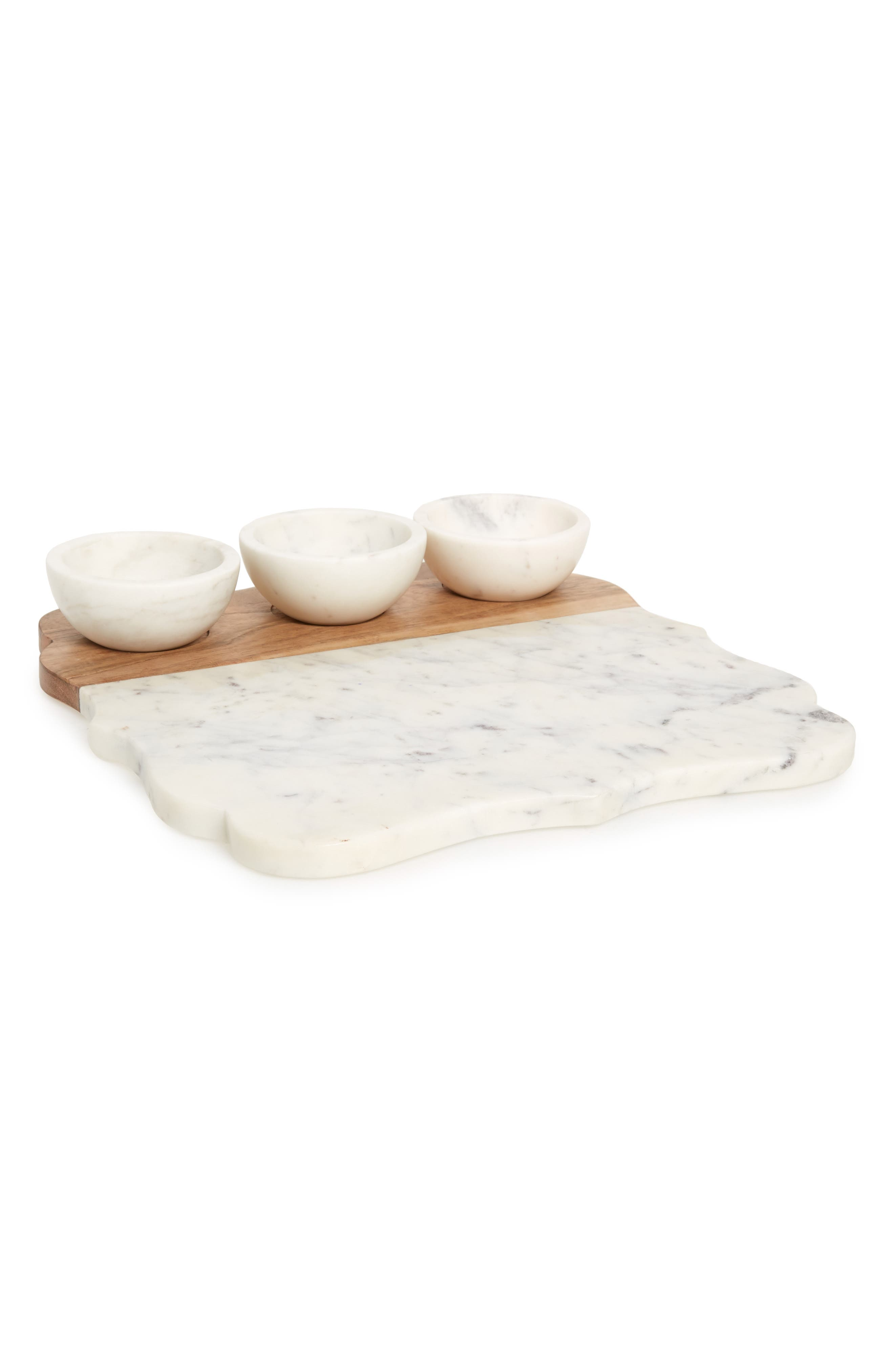 Lavender Marble & Wood Tray & Bowls Set,                             Main thumbnail 1, color,                             WHITE
