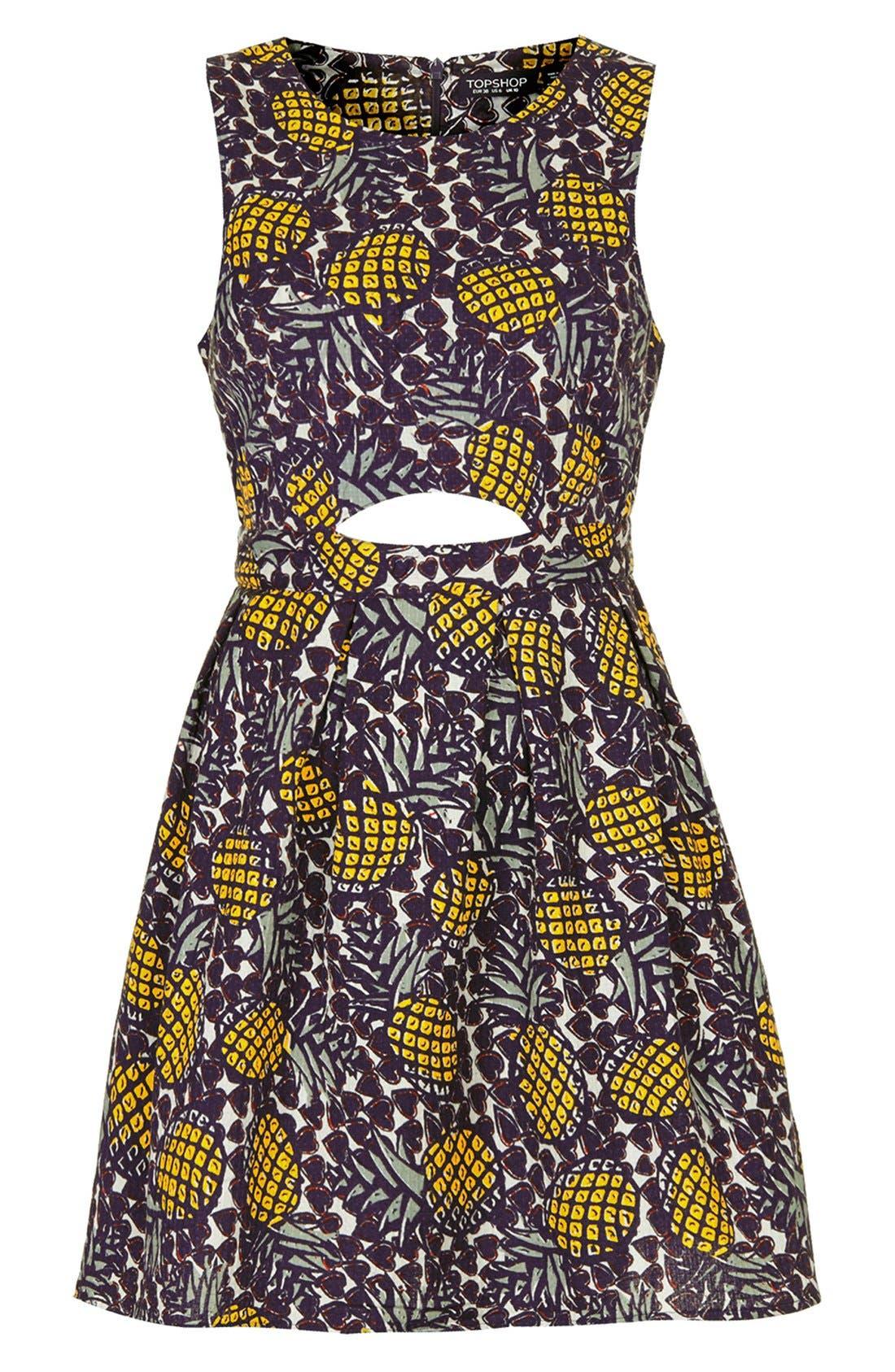 Pineapple Print Cutout Fit & Flare Dress,                             Alternate thumbnail 3, color,                             700