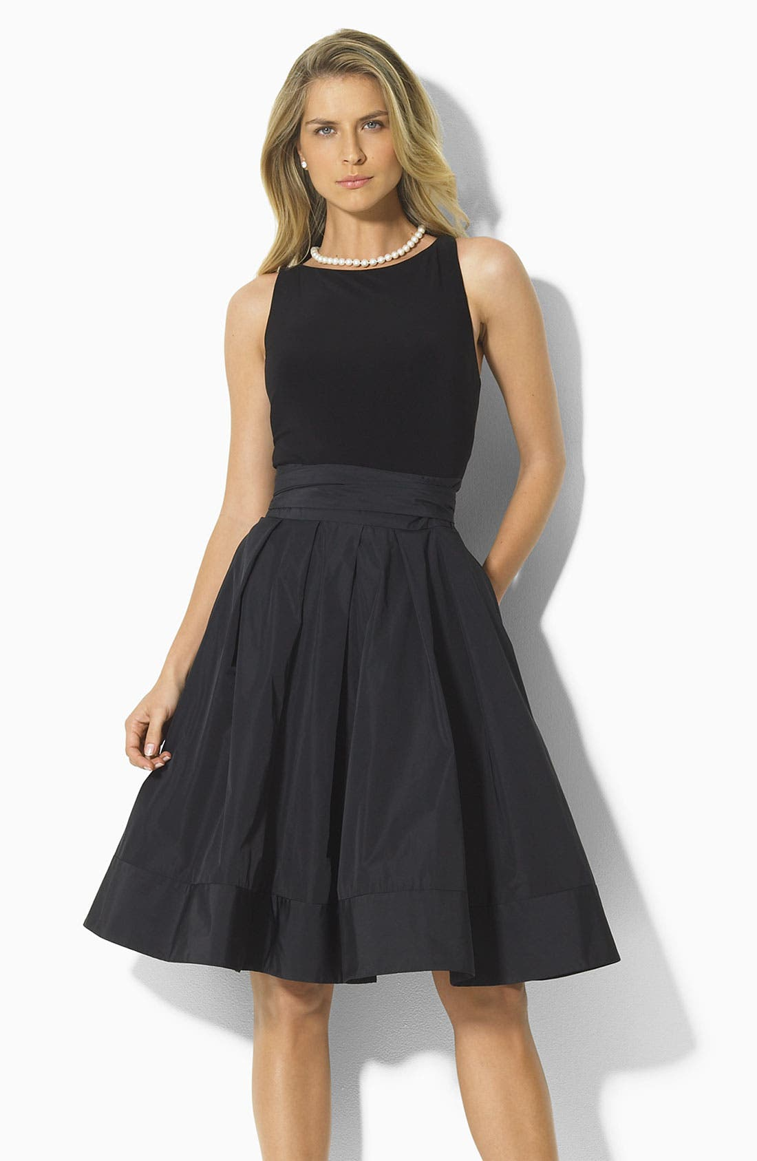 Lauren by Ralph Lauren 'Yuko' Jersey & Taffeta Dress, Main, color, 001
