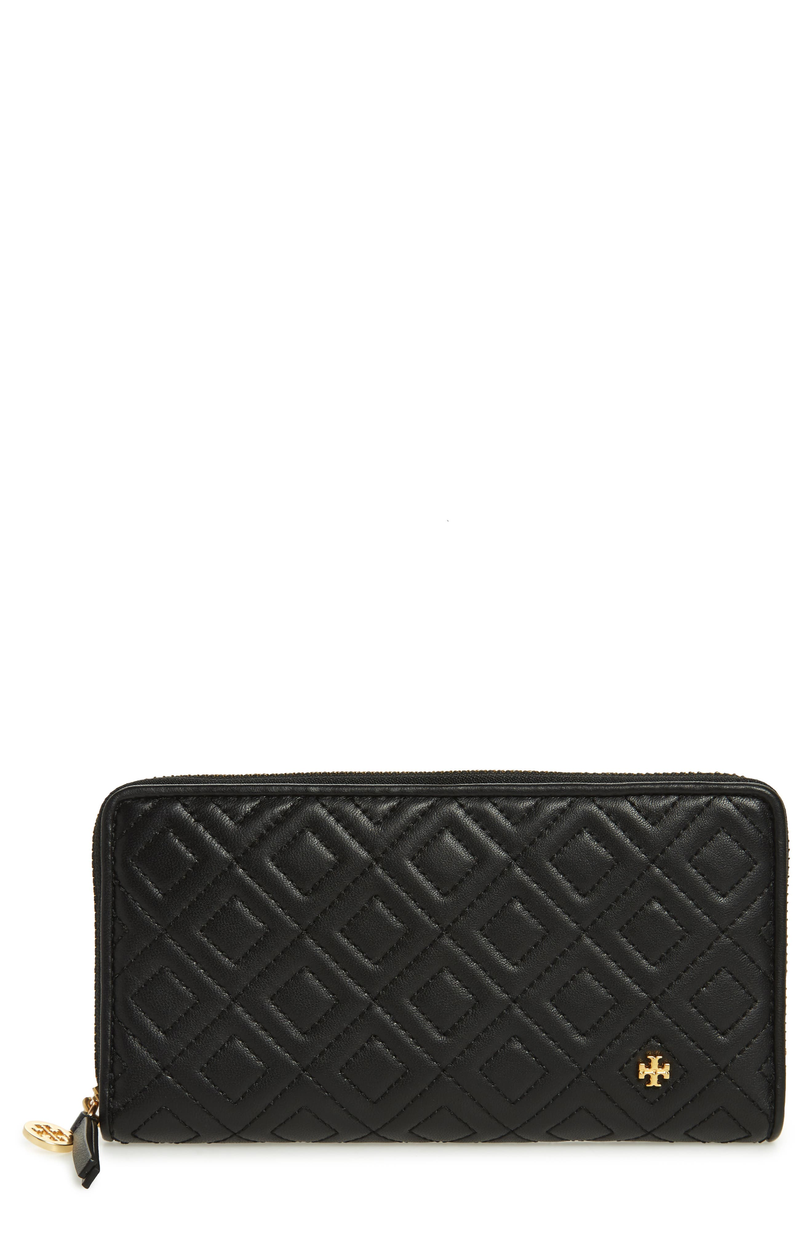 Fleming Leather Zip Around Wallet,                         Main,                         color, BLACK