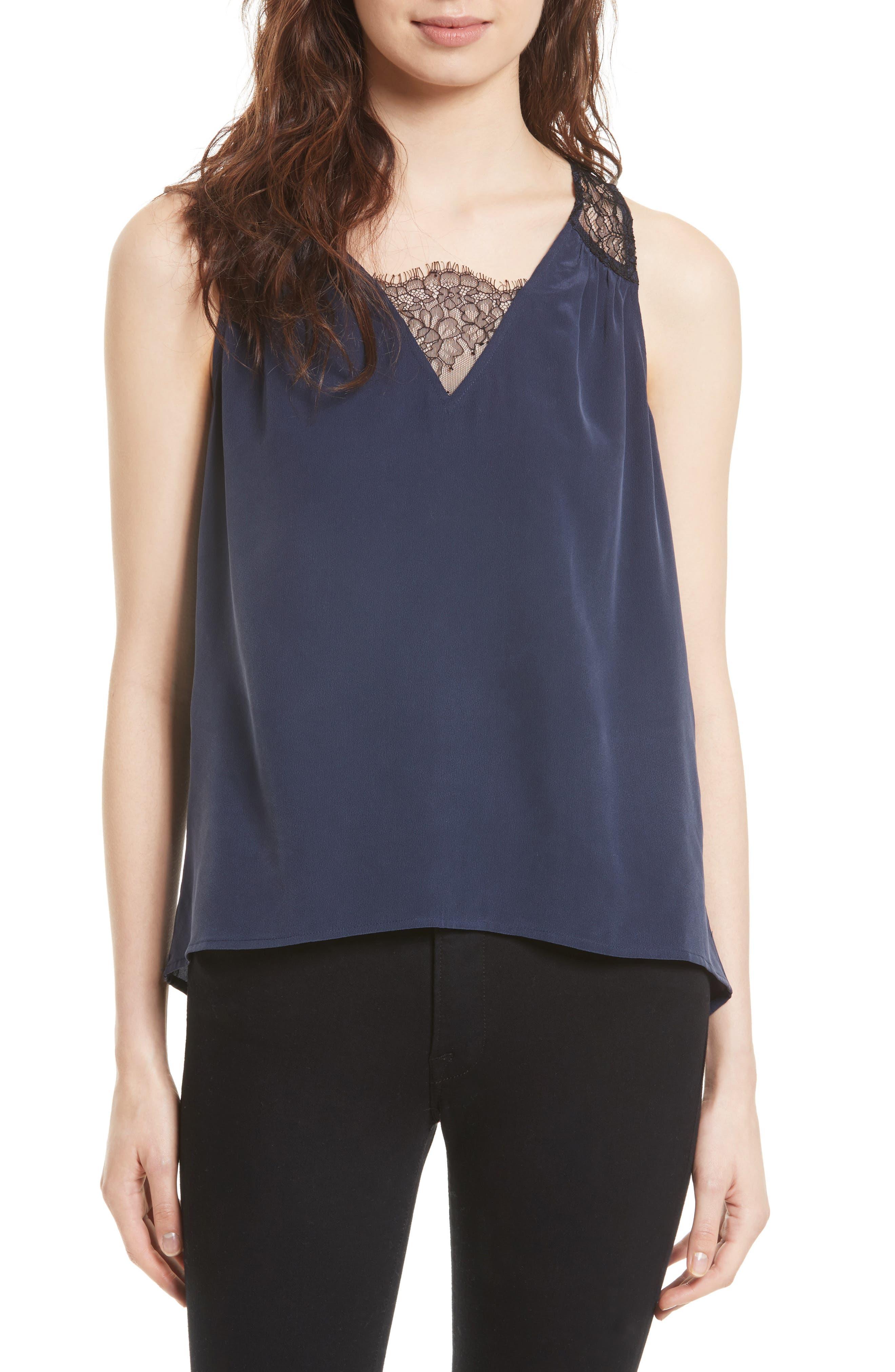 Alvery Lace Trim Silk Shell,                         Main,                         color, 411