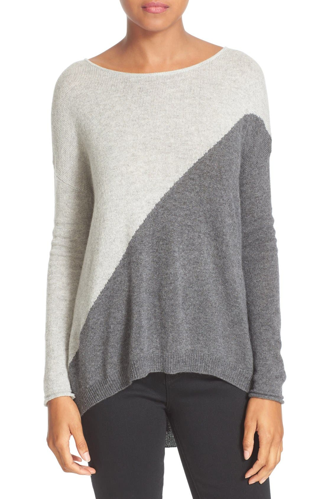 Abbie Colorblock High/Low Pullover,                             Main thumbnail 1, color,                             054