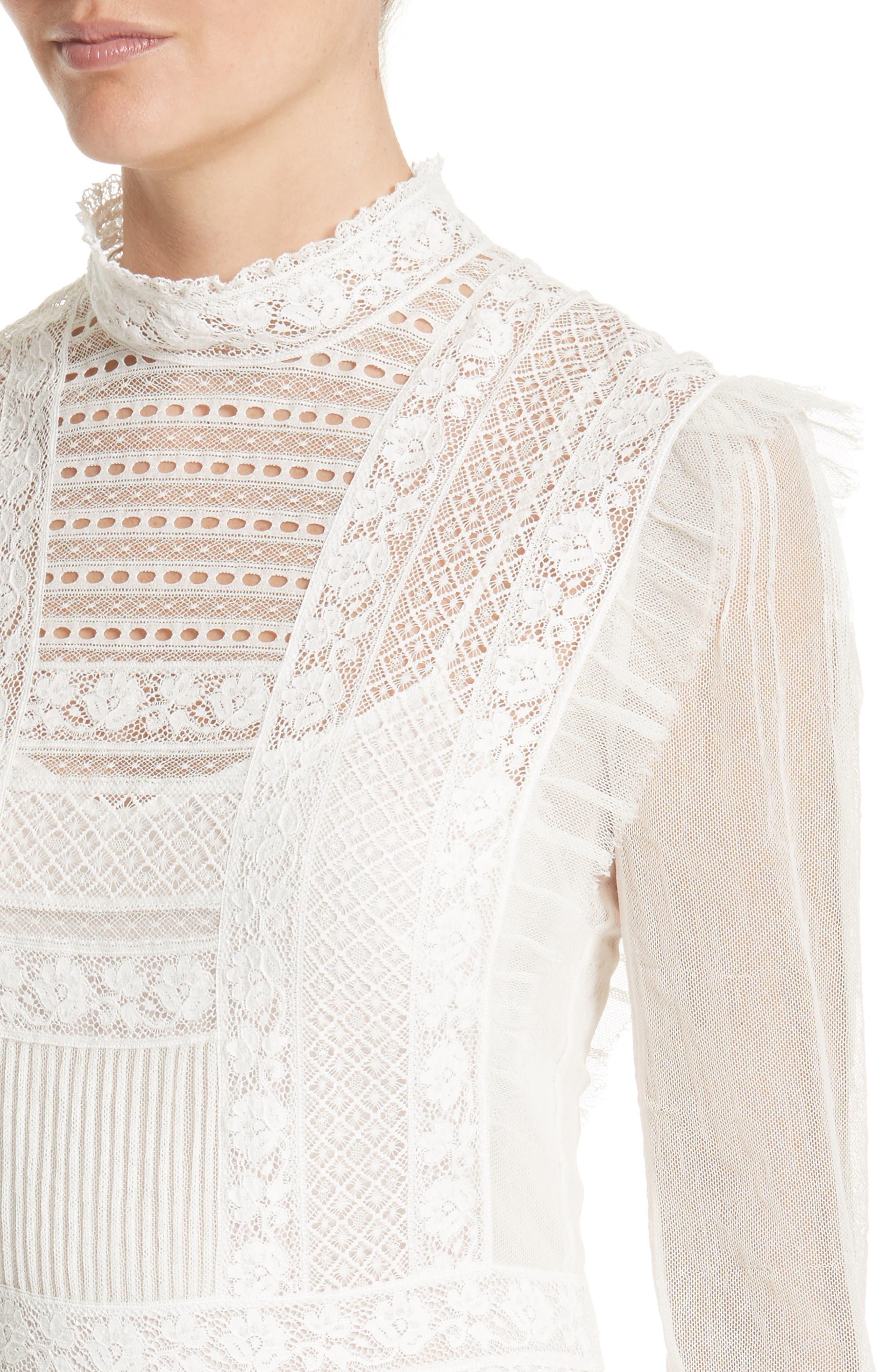 Chanella Lace Midi Dress,                             Alternate thumbnail 4, color,                             100