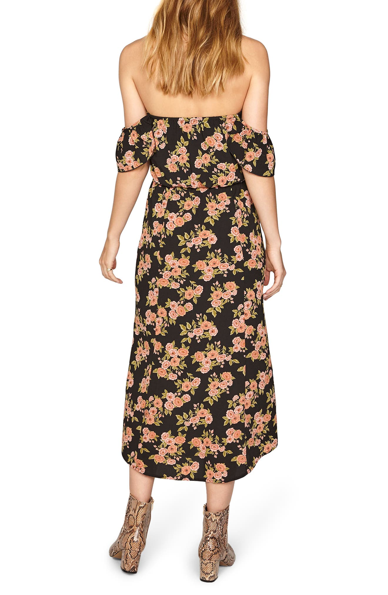 Sweeter Than You Off the Shoulder Midi Dress,                             Alternate thumbnail 2, color,                             001