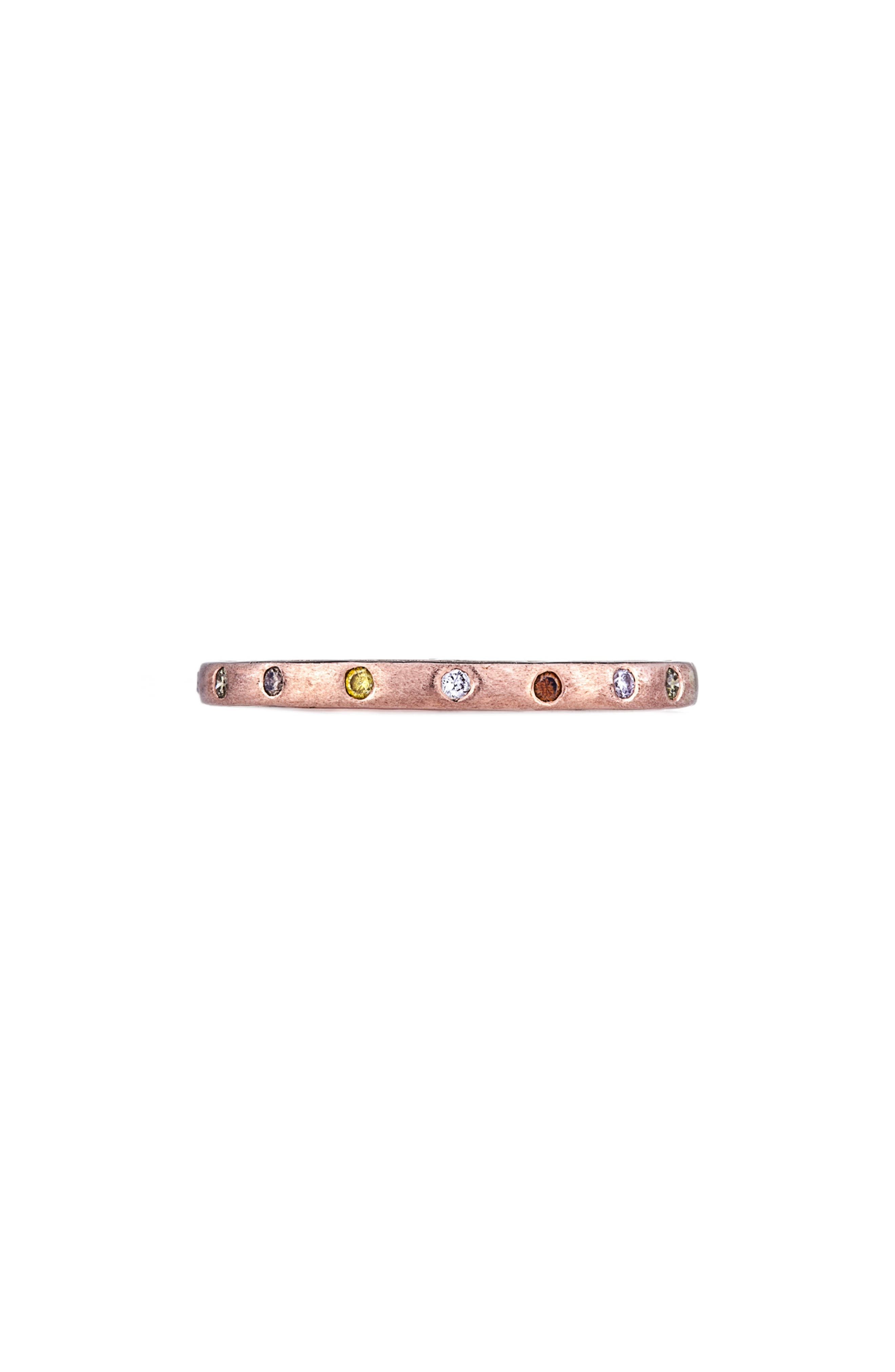 Dunes Diamond Stacking Band Ring,                             Main thumbnail 1, color,                             ROSE GOLD/ DIAMOND