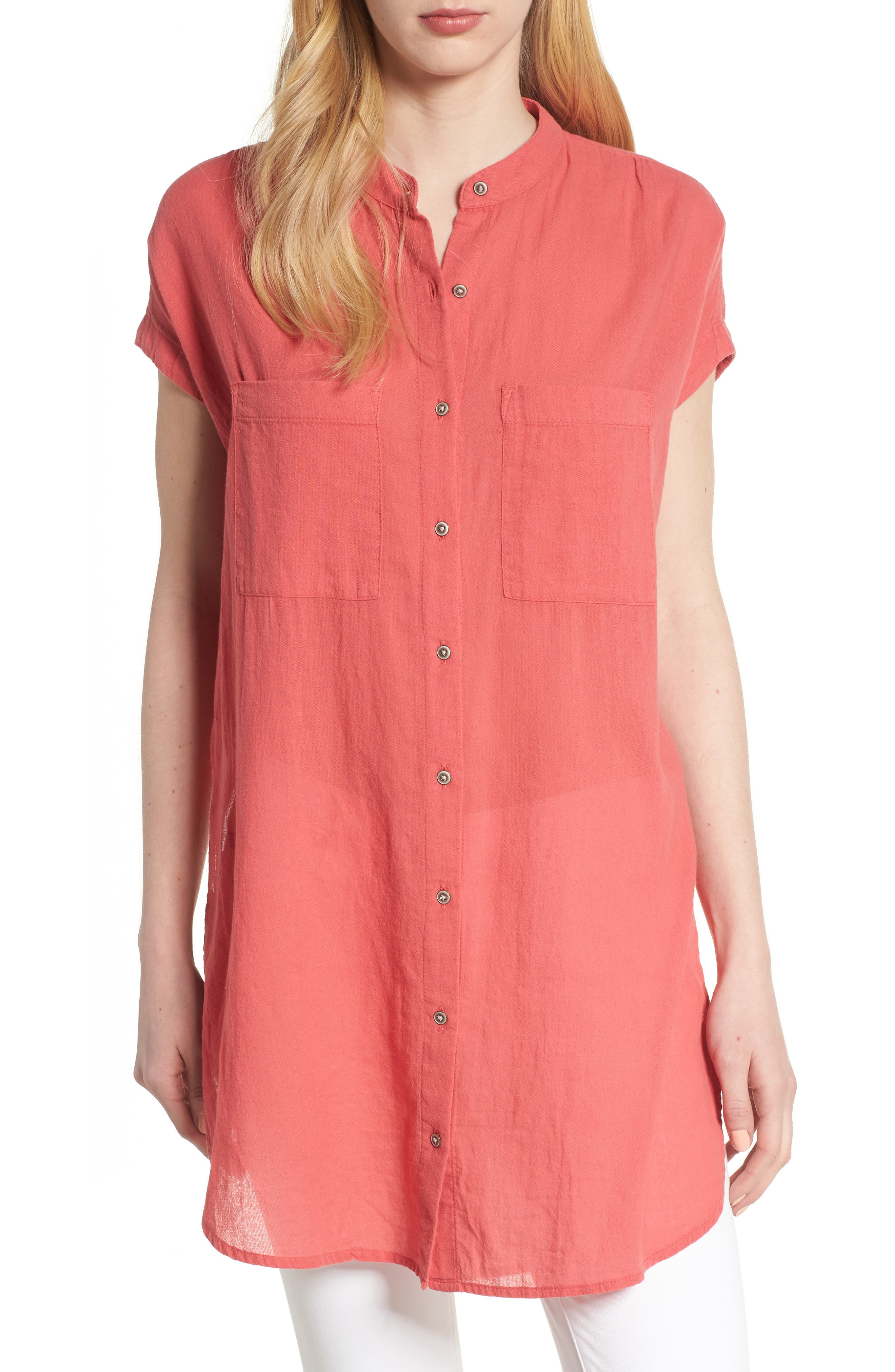 Button Front Longline Top,                             Main thumbnail 9, color,