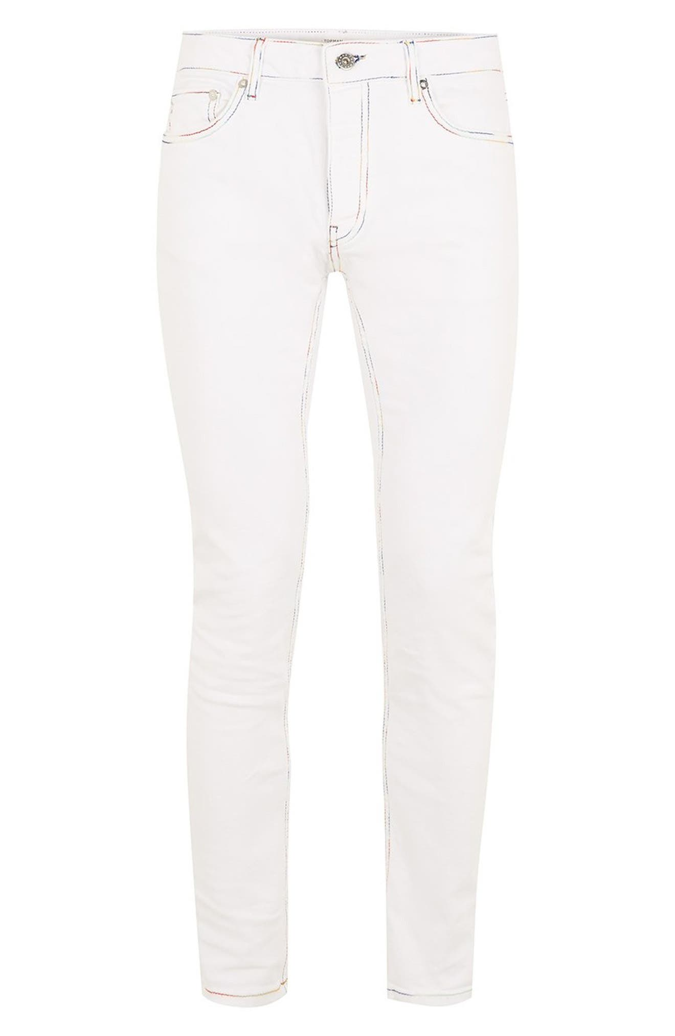 Contrast Stitch Skinny Fit Jeans,                             Alternate thumbnail 4, color,                             WHITE
