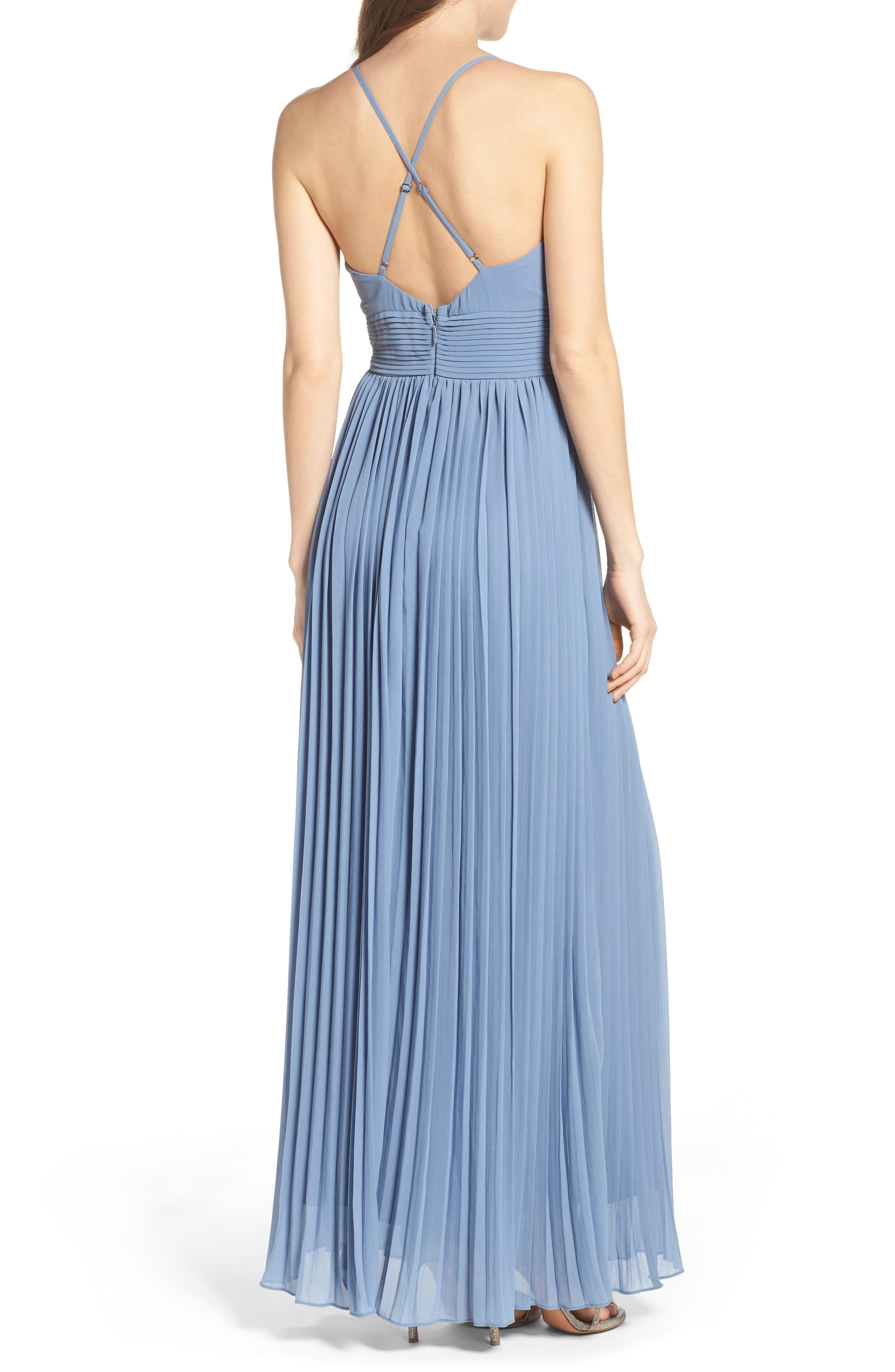 Plunging V-Neck Pleat Georgette Gown,                             Alternate thumbnail 14, color,