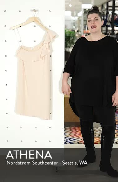 Louison Ruffle One-Shoulder Shift Dress, sales video thumbnail