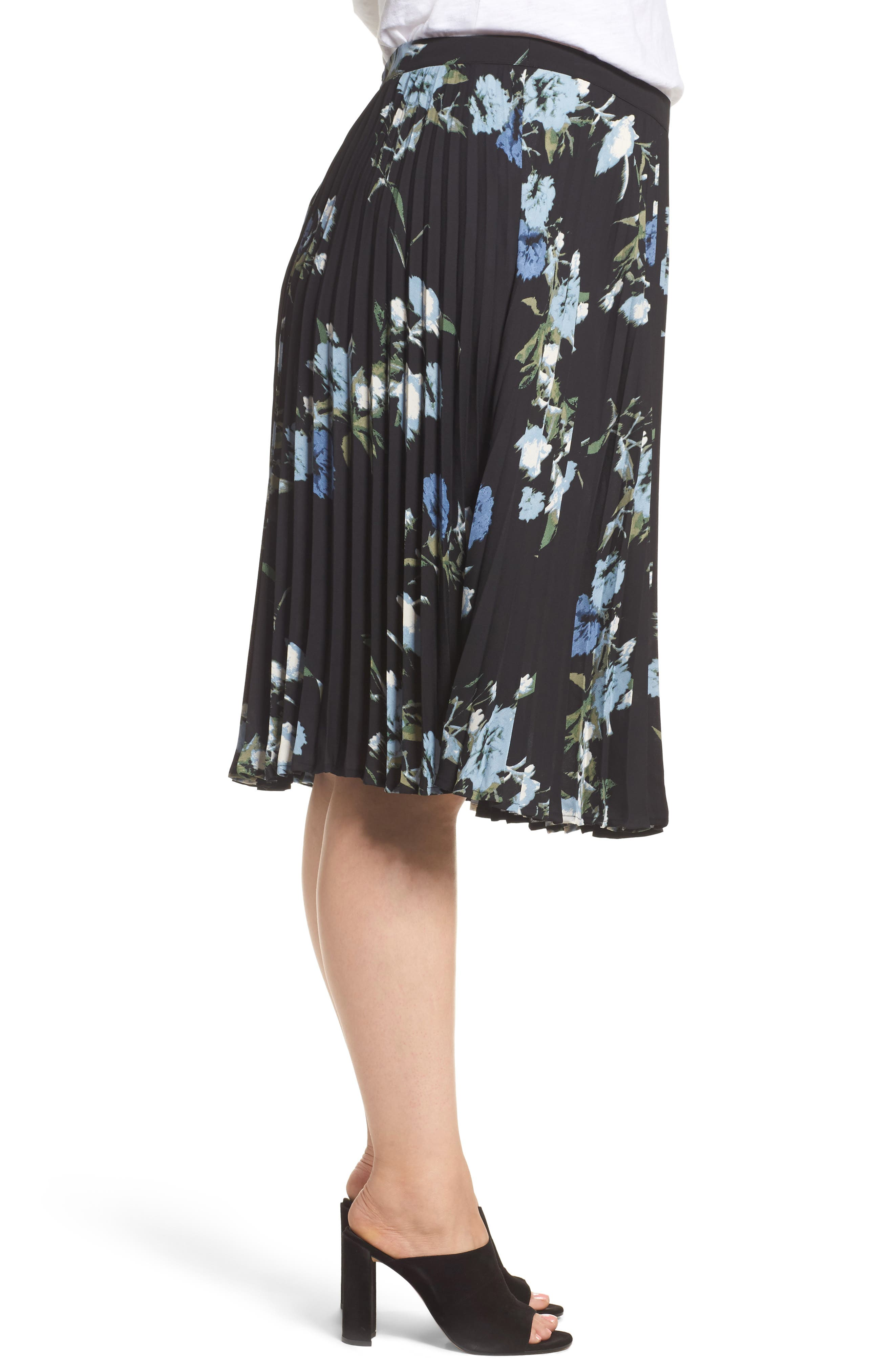 Windswept Bouquet Pleated Skirt,                             Alternate thumbnail 3, color,                             401