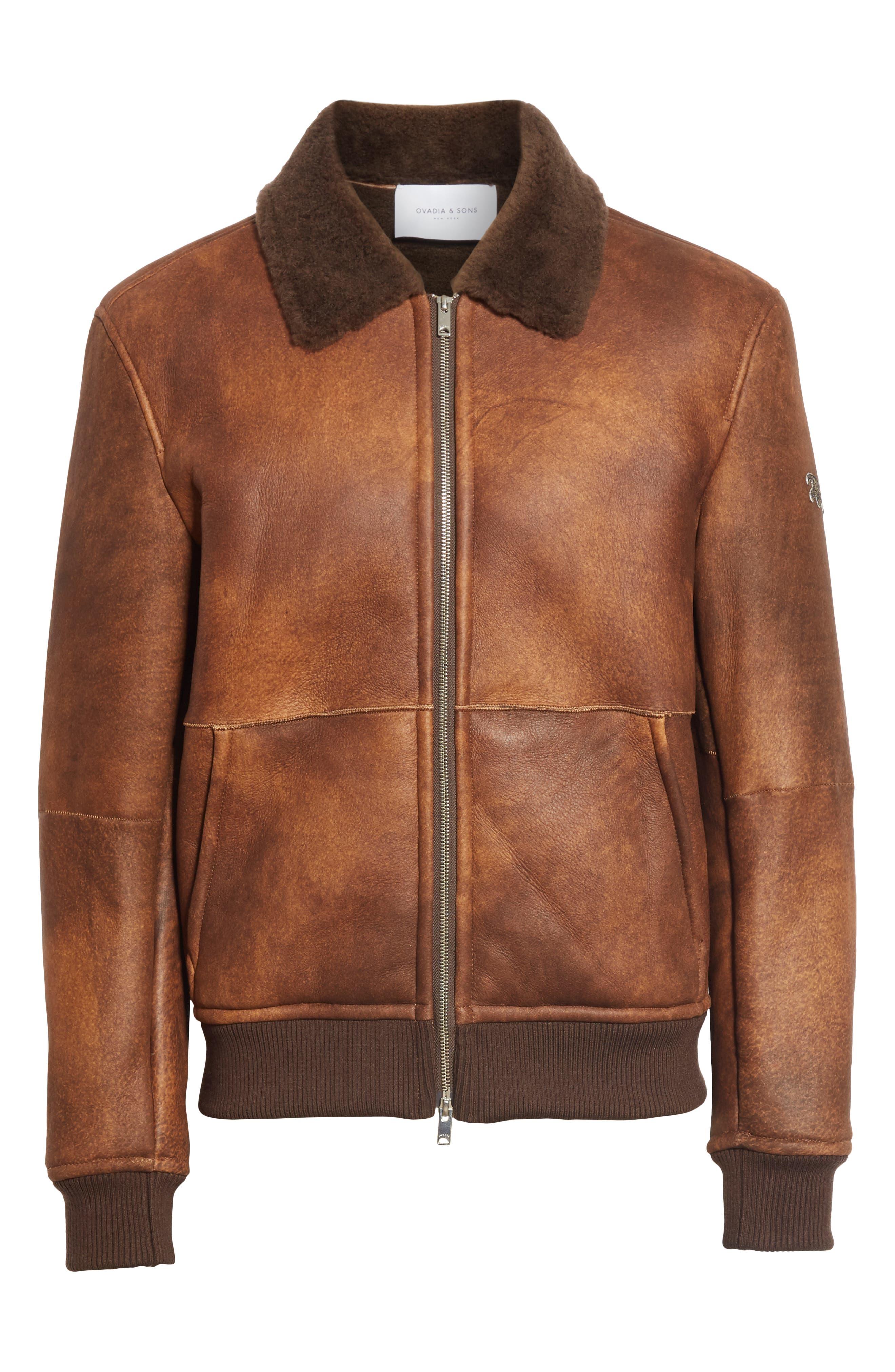 Genuine Shearling Aviator Jacket,                             Alternate thumbnail 5, color,                             BROWN