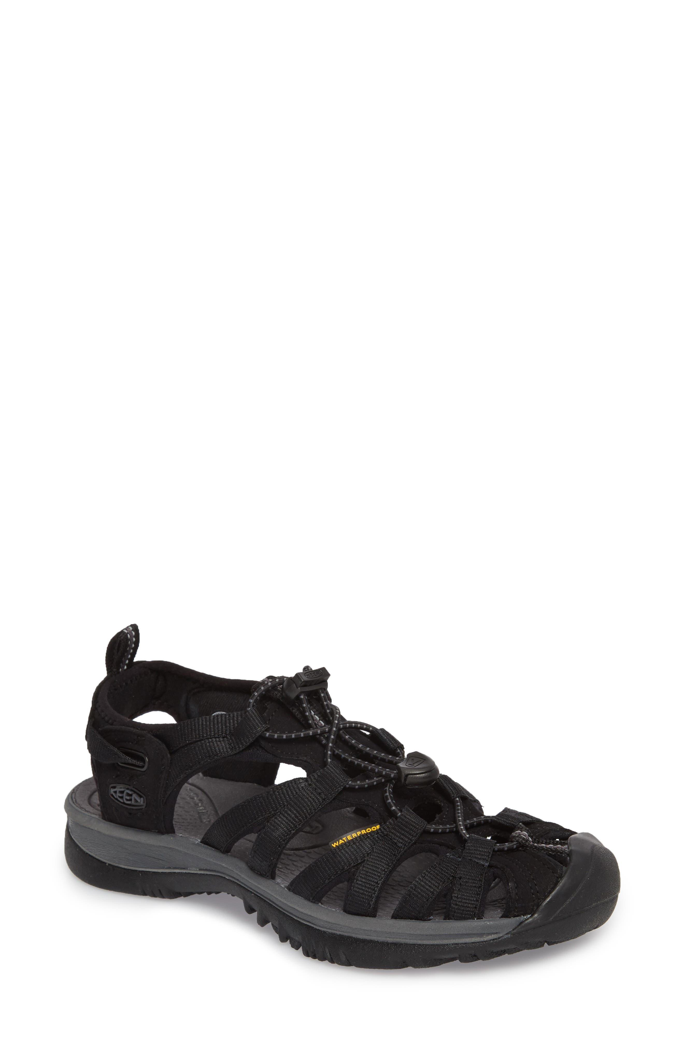 'Whisper' Water Friendly Sport Sandal,                             Main thumbnail 1, color,                             BLACK/ MAGNET