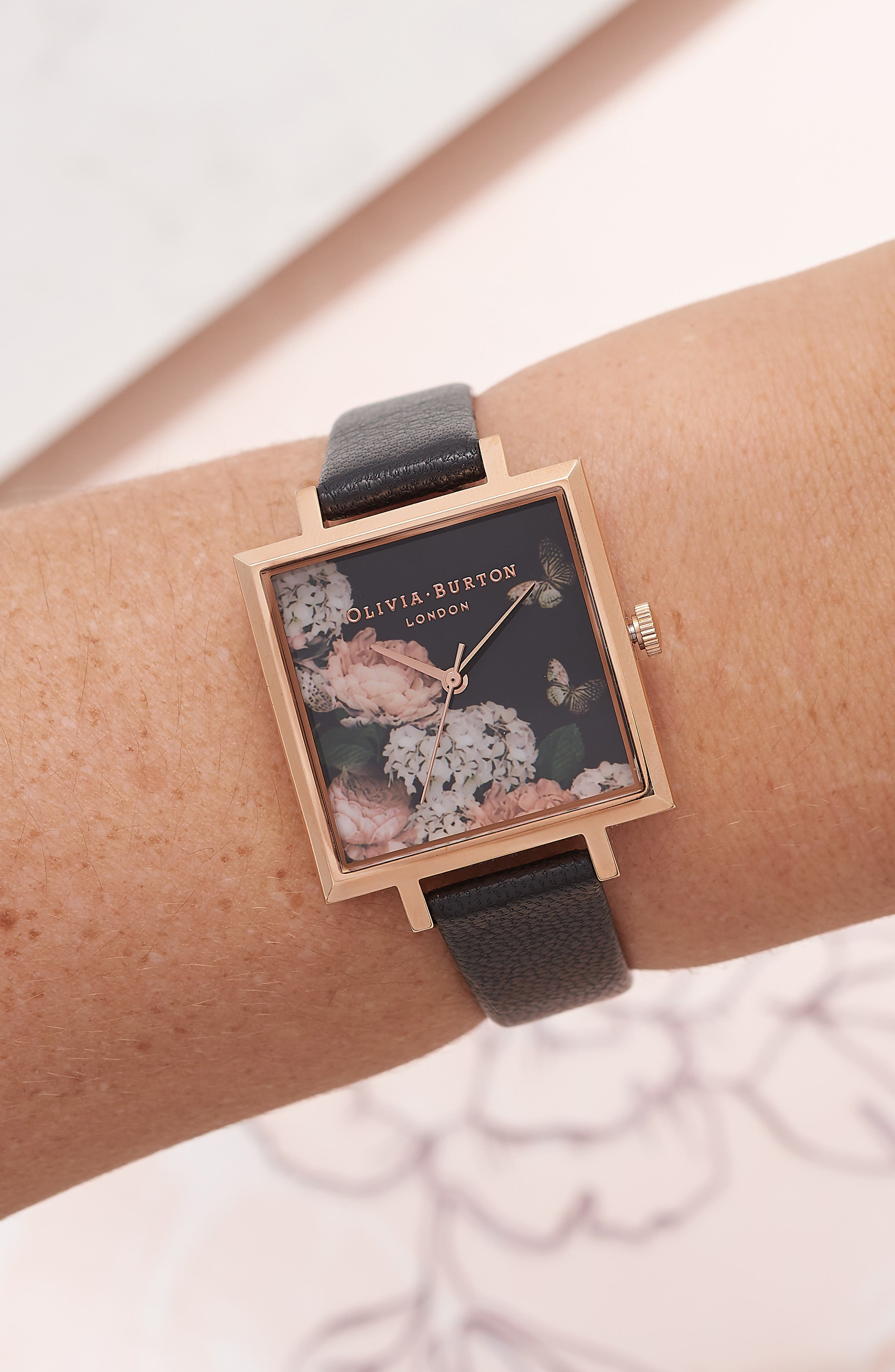 Signature Floral Big Square Leather Strap Watch, 38mm,                             Alternate thumbnail 2, color,                             001