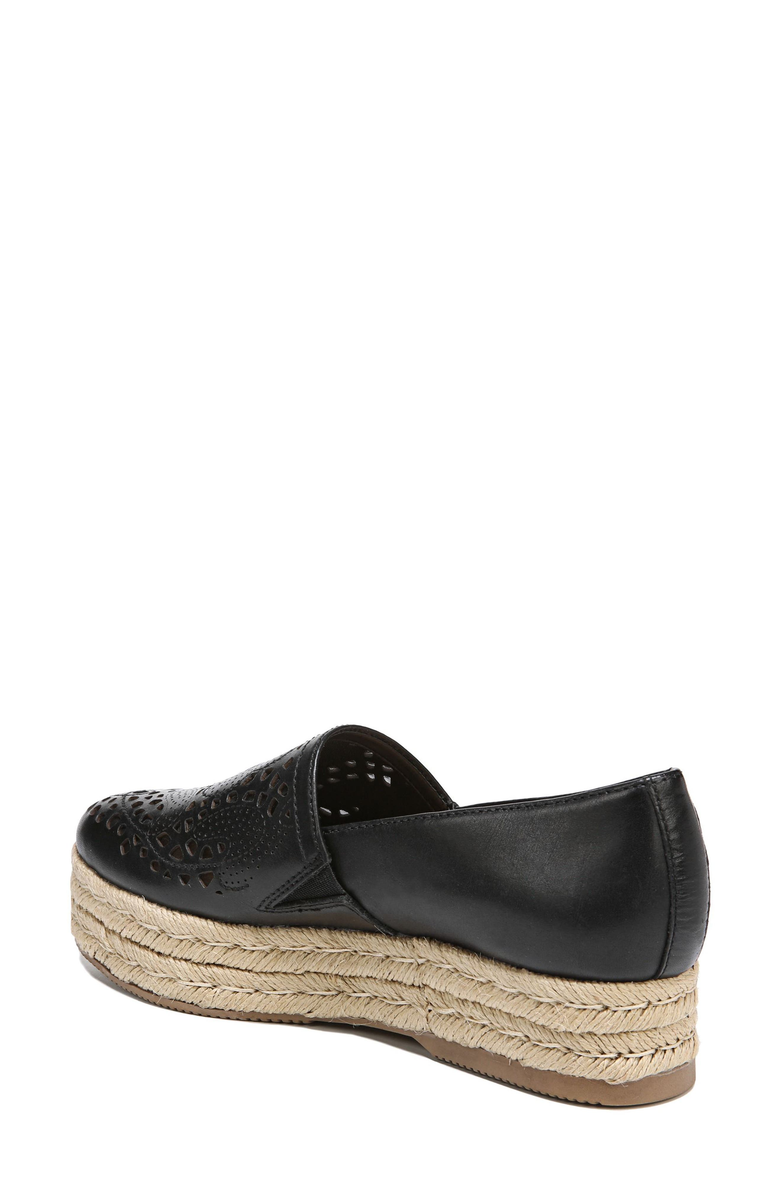 Thea Perforated Platform Espadrille,                             Alternate thumbnail 2, color,                             001