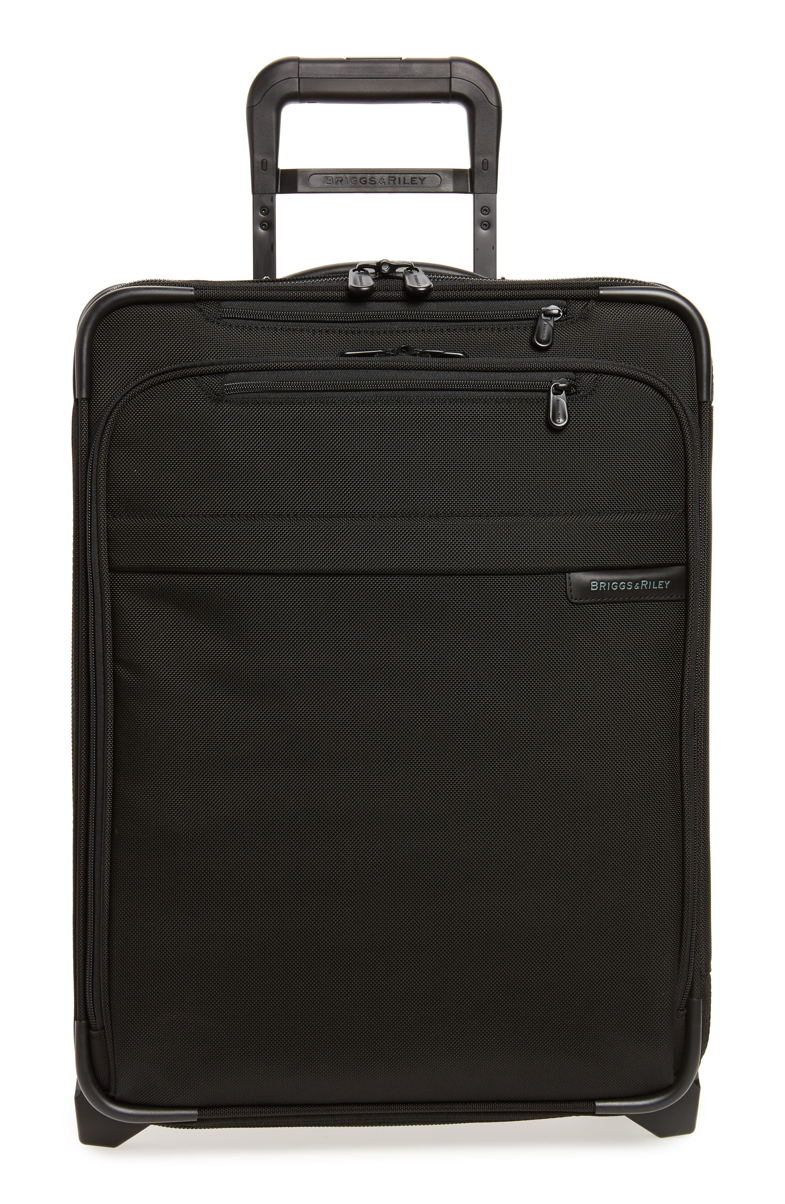 Baseline International 22-Inch Expandable Rolling Carry-On,                             Main thumbnail 1, color,                             BLACK