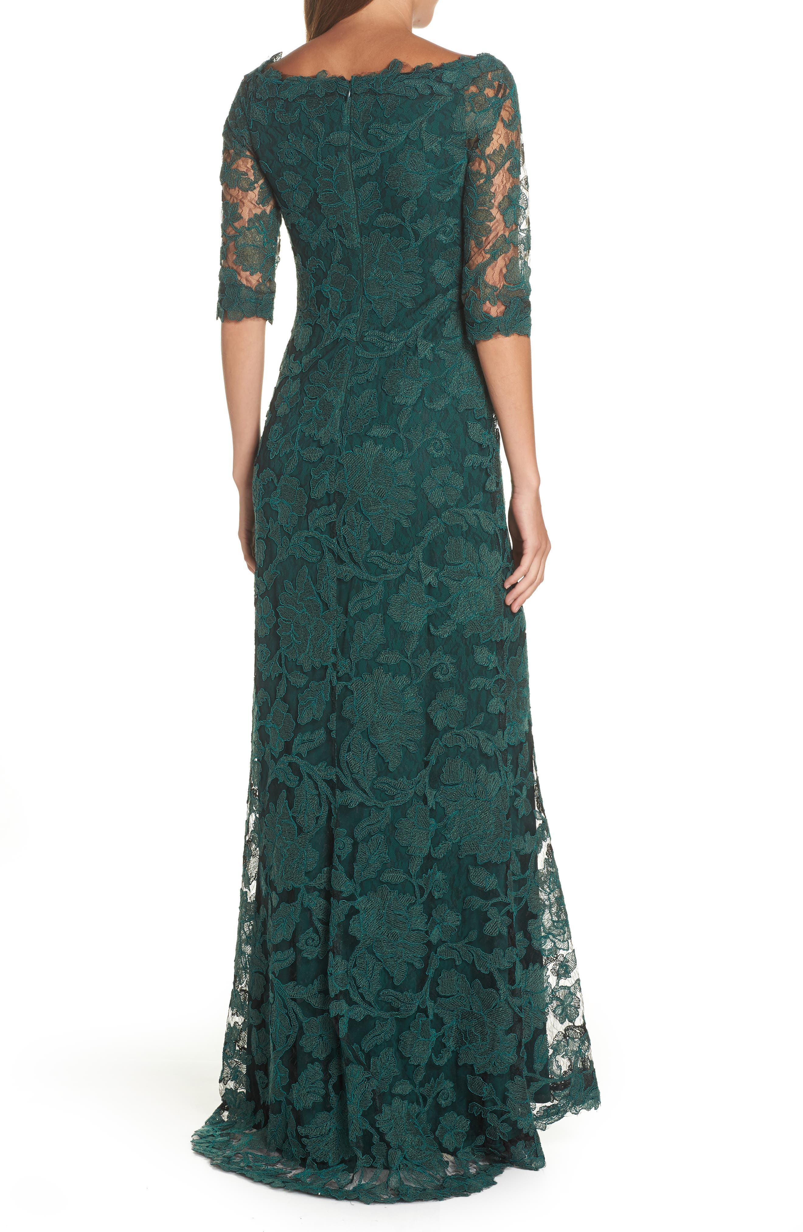 Embroidered Boat Neck Mermaid Gown,                             Alternate thumbnail 2, color,                             SEAGRASS