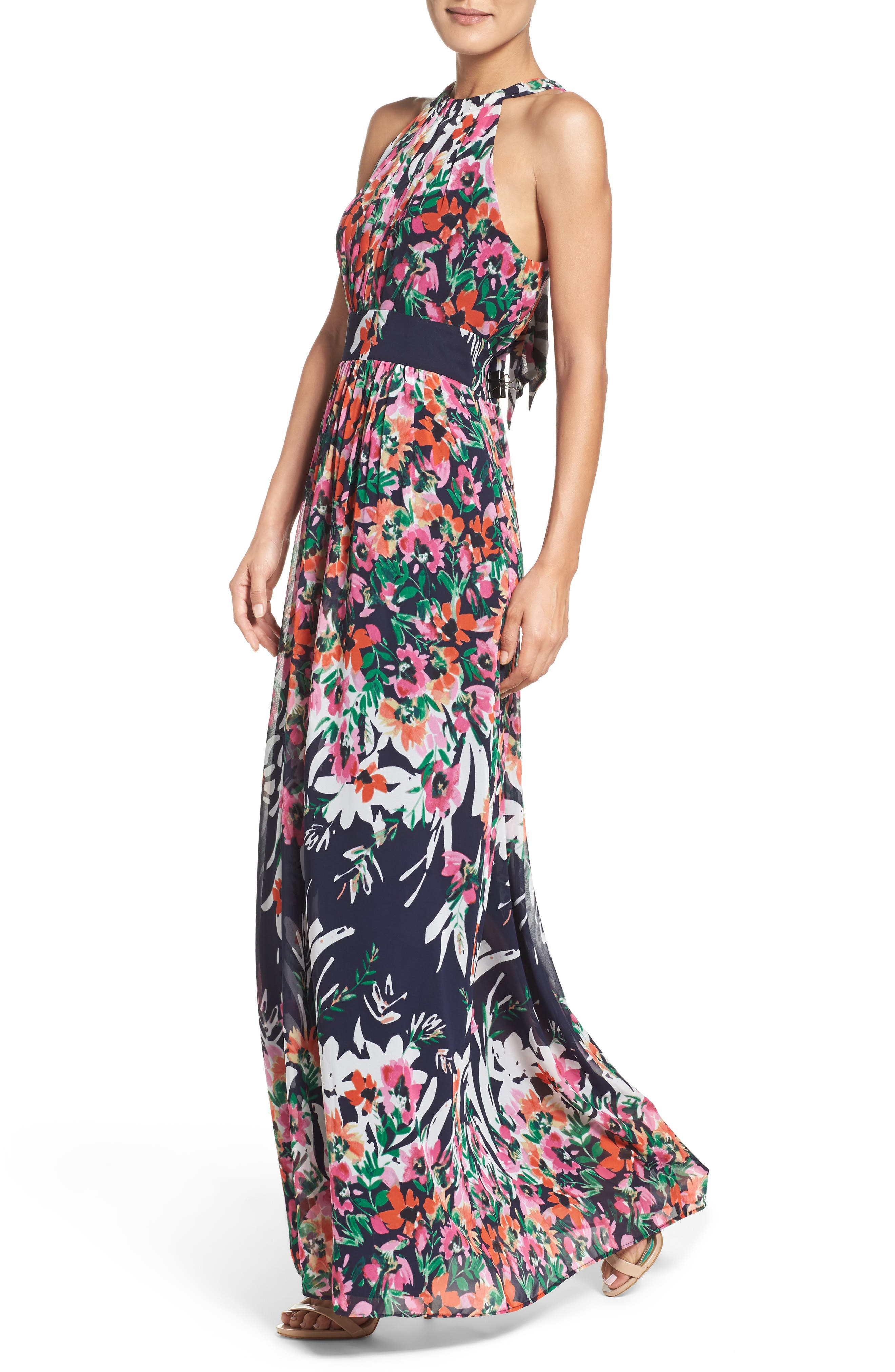 Print Chiffon Halter Maxi Dress,                             Alternate thumbnail 4, color,