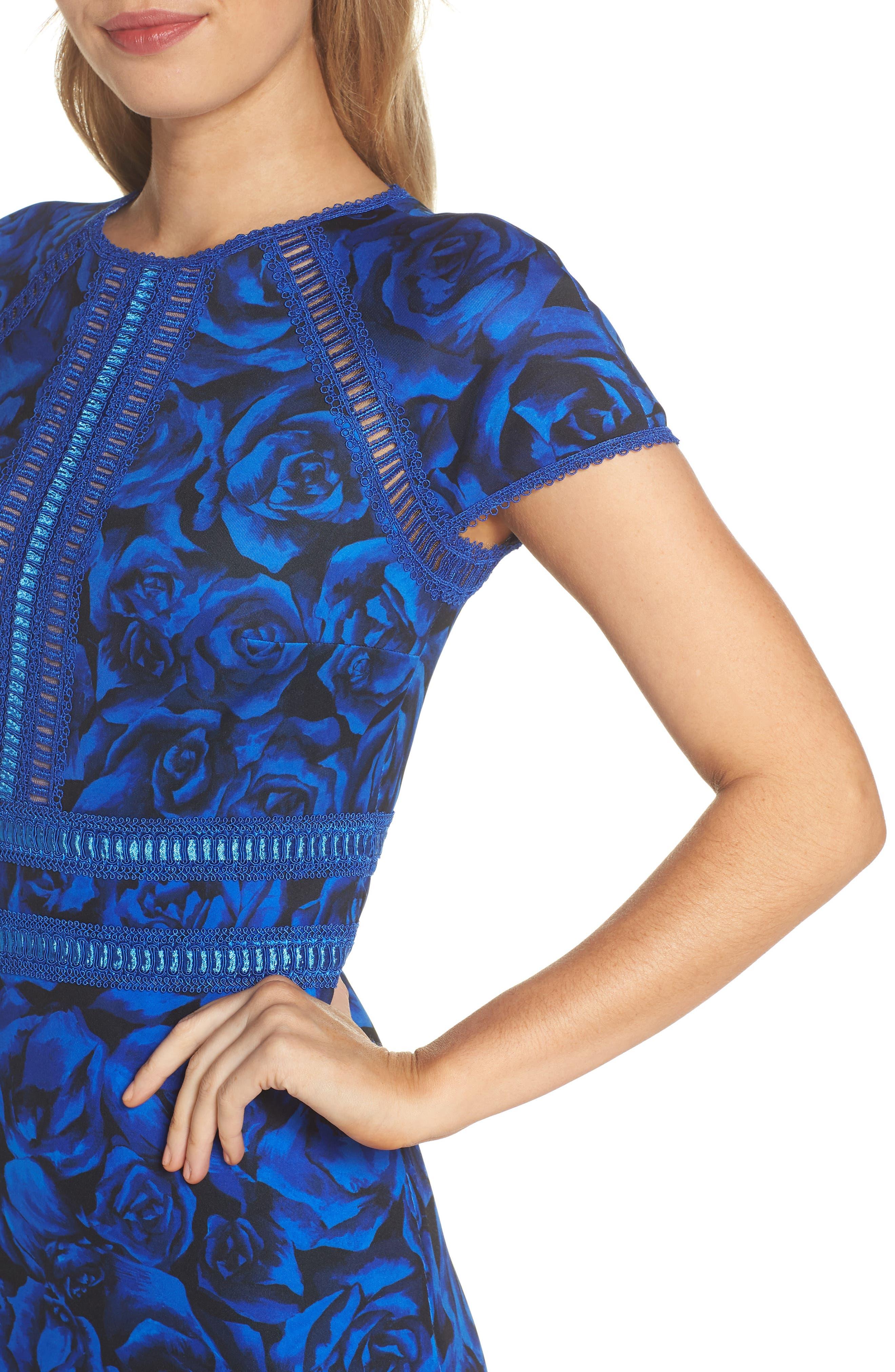 Floral Print Body-Con Dress,                             Alternate thumbnail 4, color,                             491