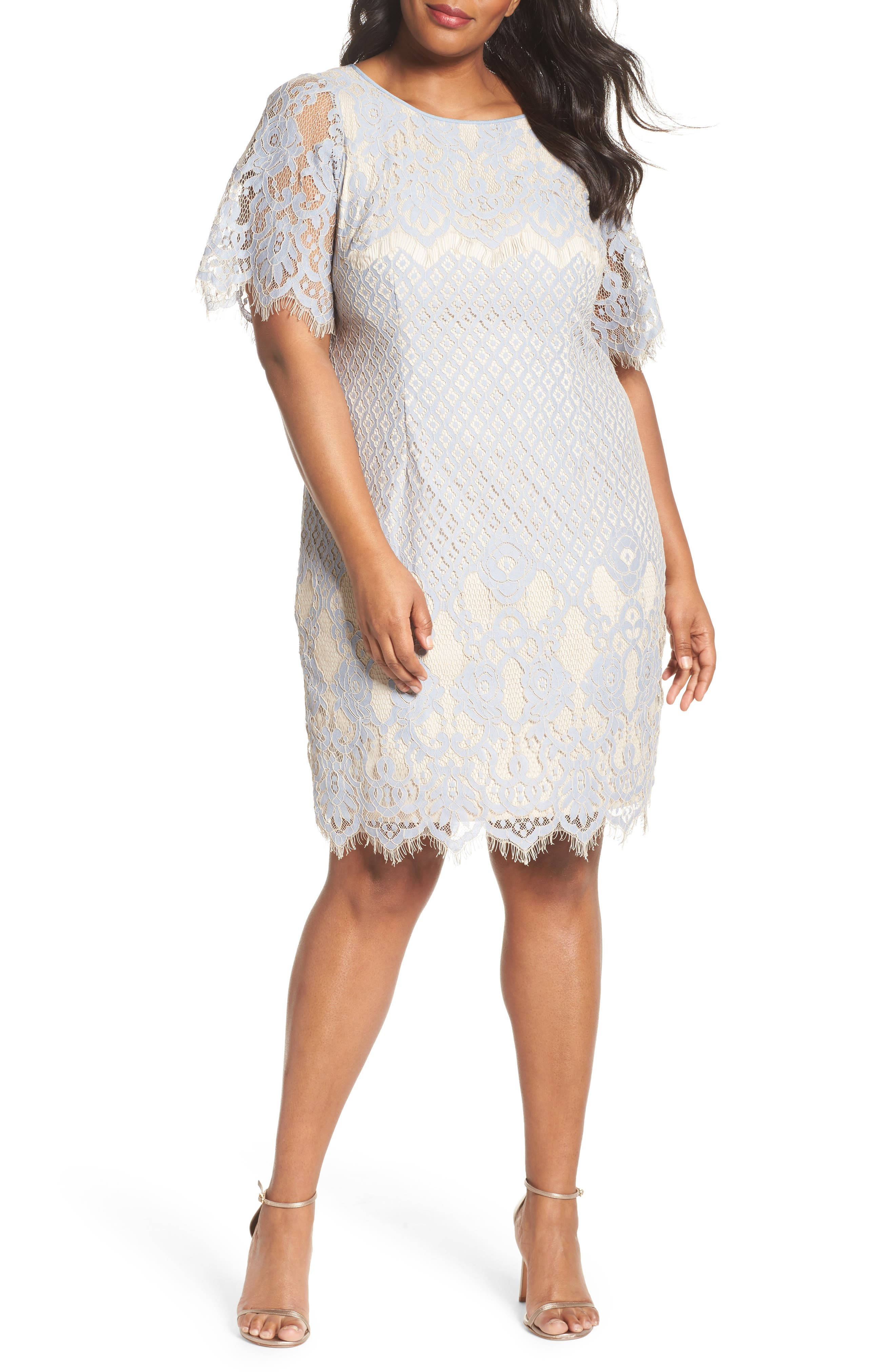 Bell Sleeve Georgia Lace Sheath Dress,                             Main thumbnail 1, color,                             497