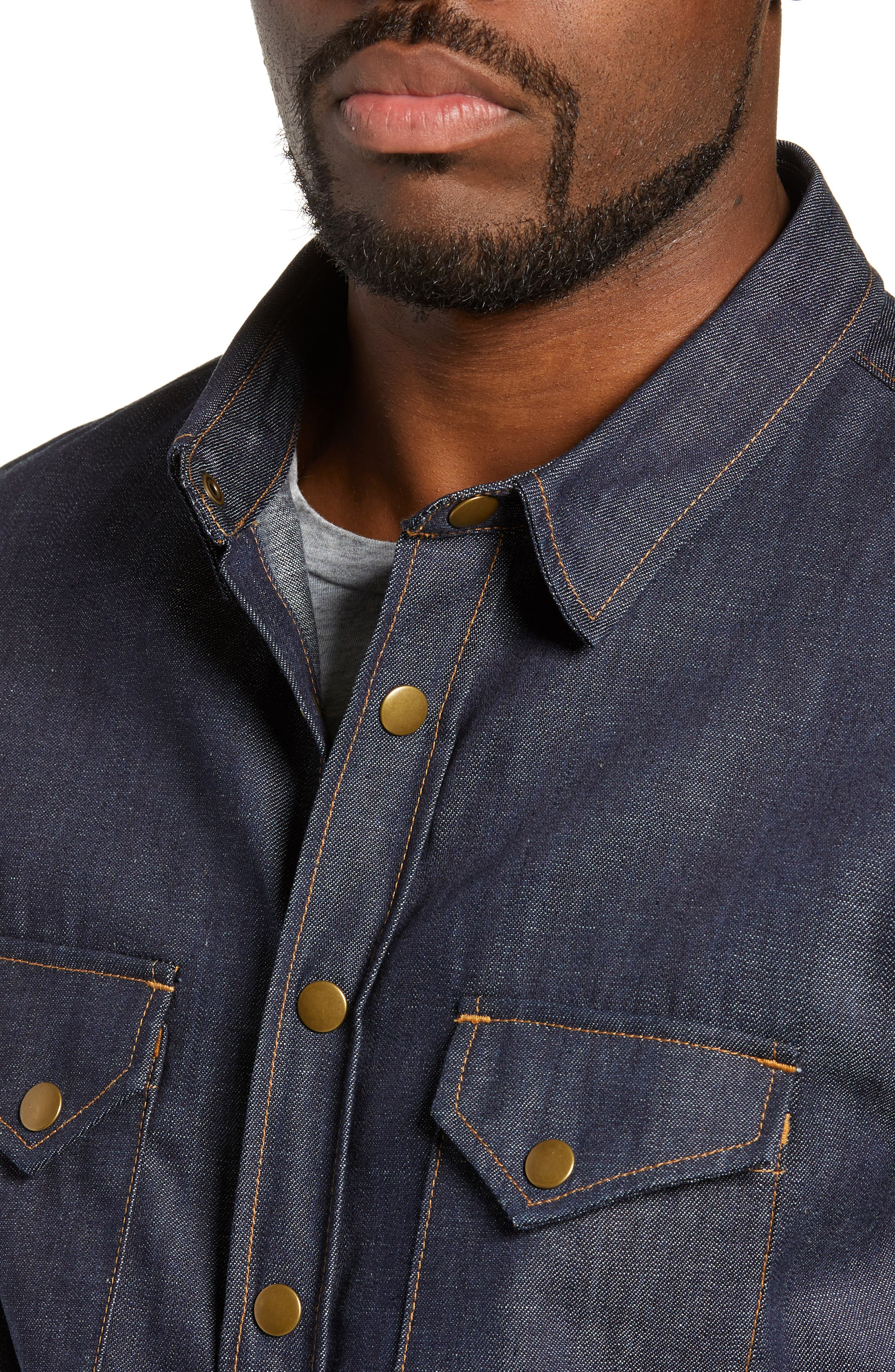 Distressed Denim Western Shirt,                             Alternate thumbnail 4, color,                             DRY