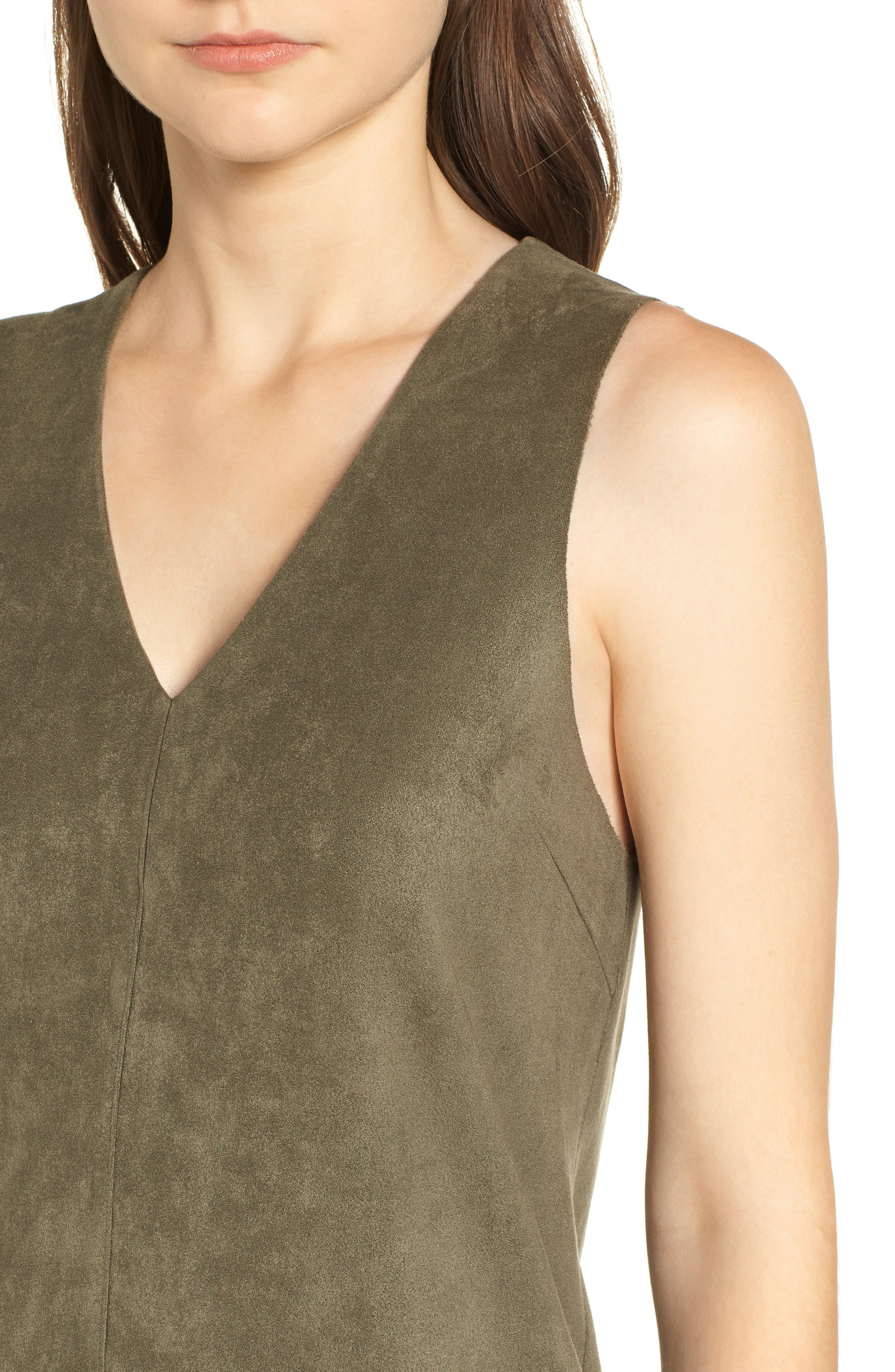 Bishop + Young Sueded Sleeveless Shift Dress,                             Alternate thumbnail 4, color,                             OLIVE