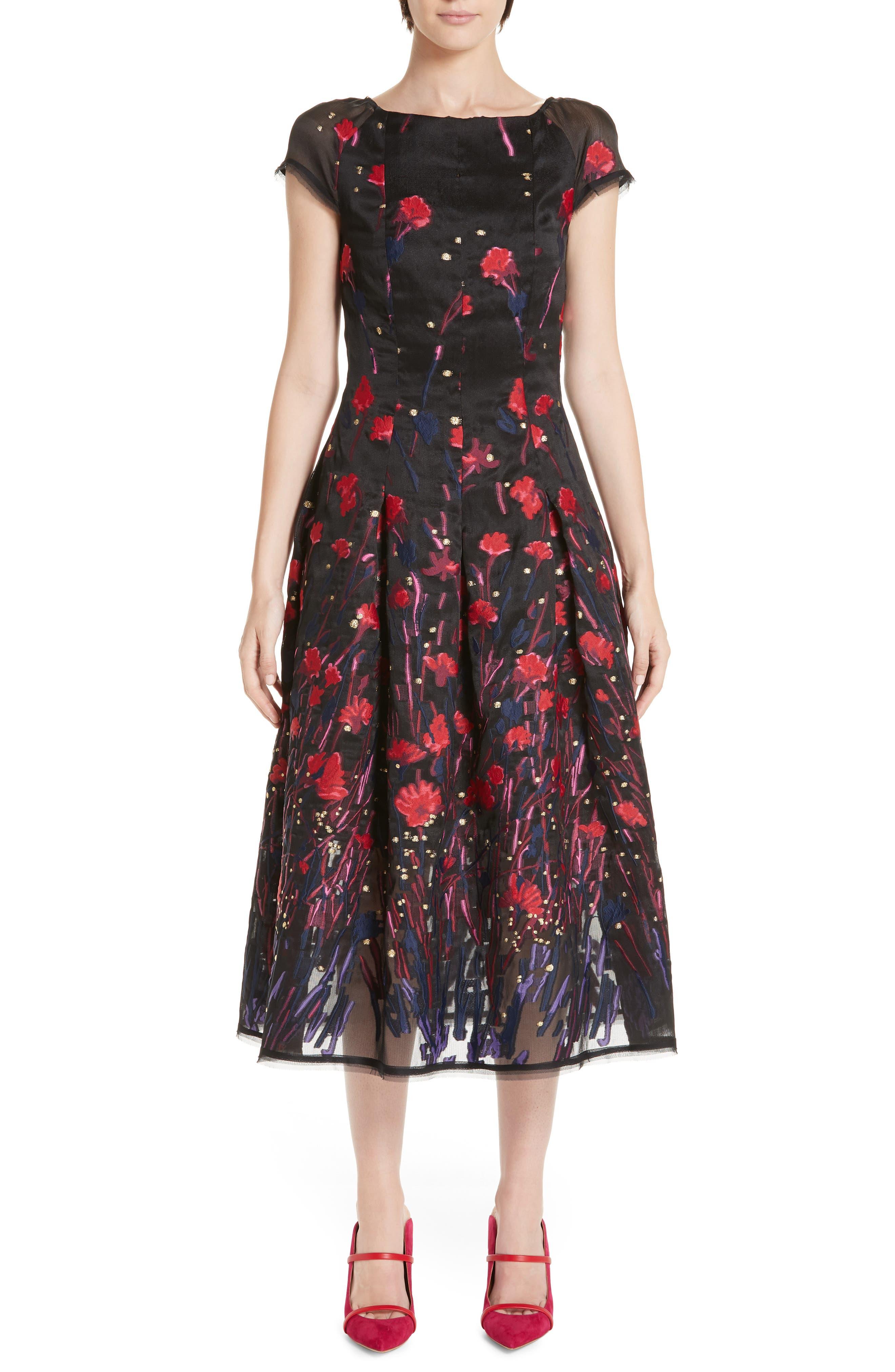 Talbot Runhof Poppy Fil Coupe Tea Length Dress, Black