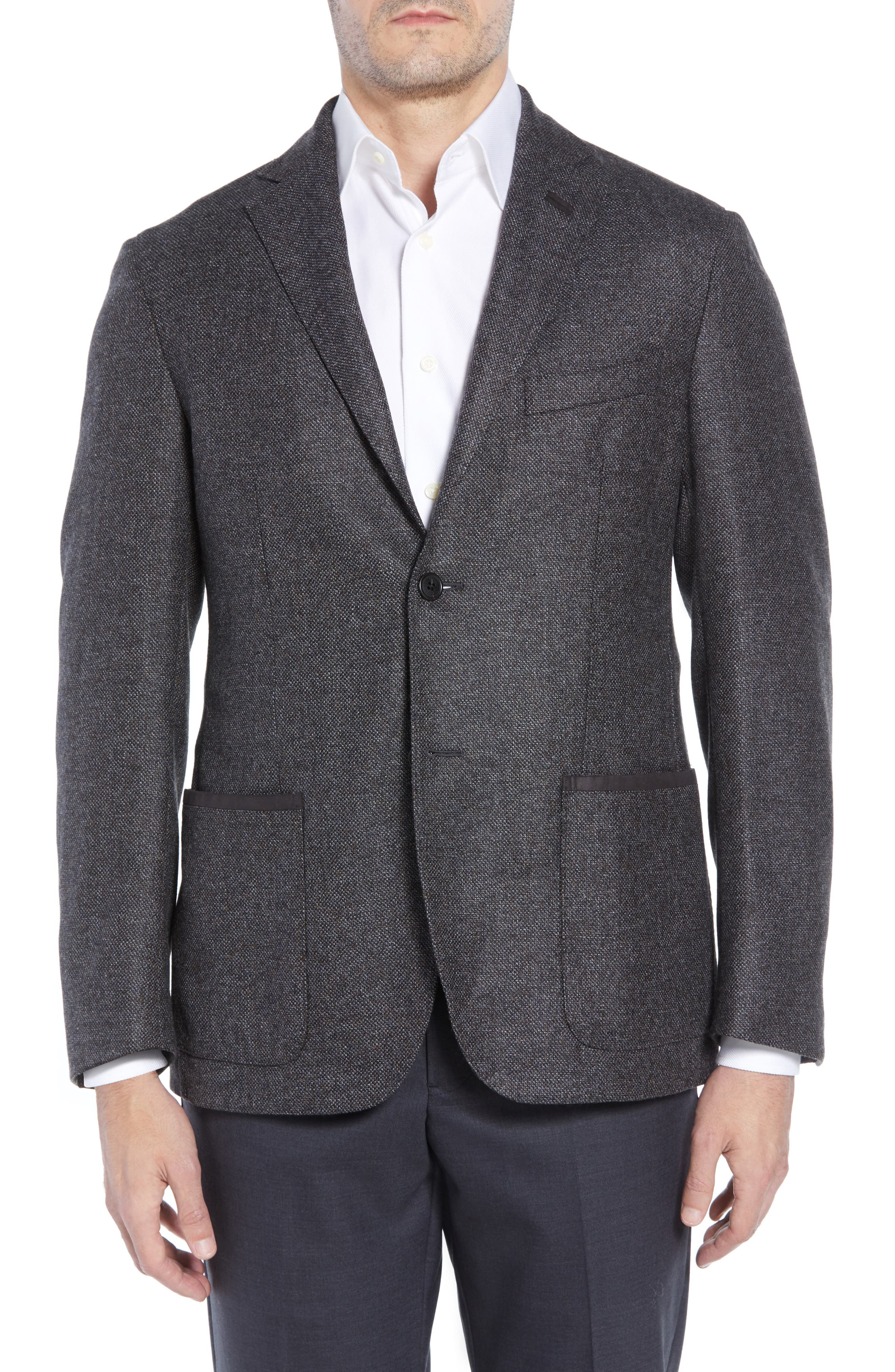 Classic Fit Stretch Tweed Wool Blend Sport Coat,                             Alternate thumbnail 4, color,                             GREY