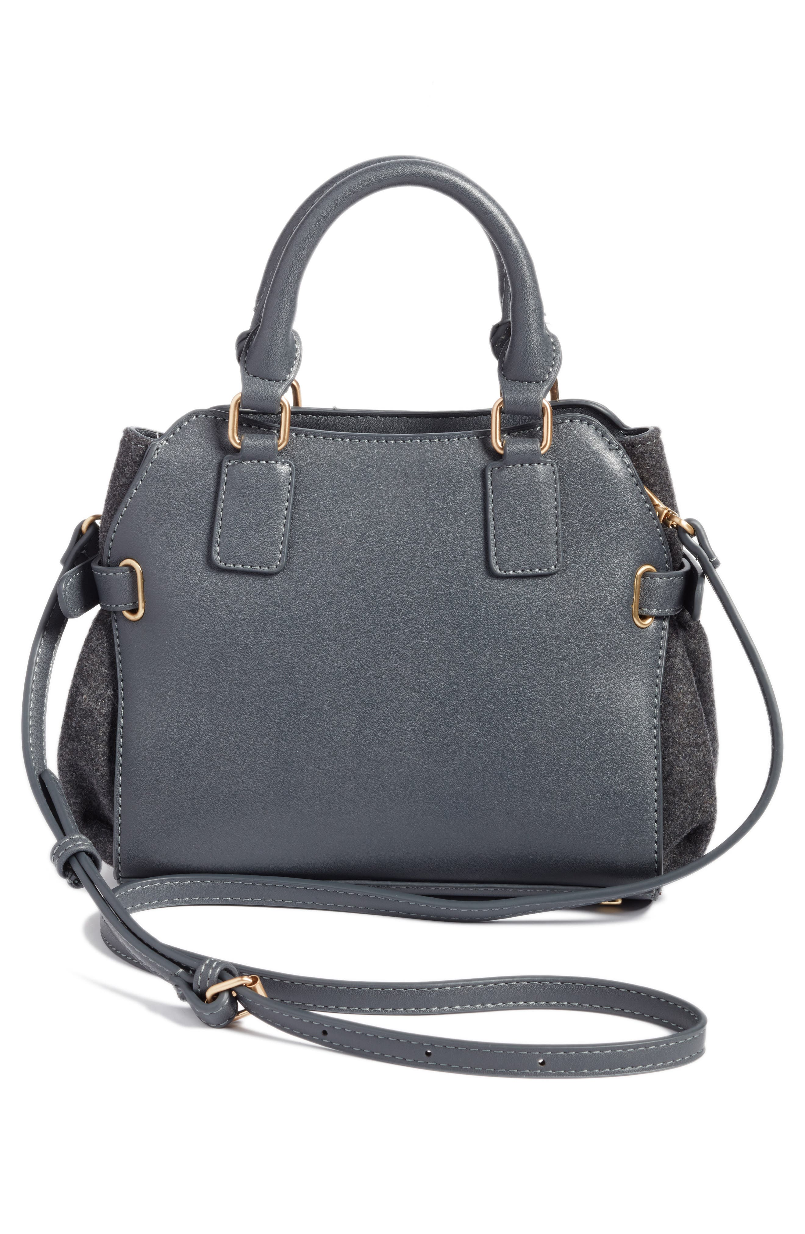Faux Leather & Flannel Satchel,                             Alternate thumbnail 3, color,