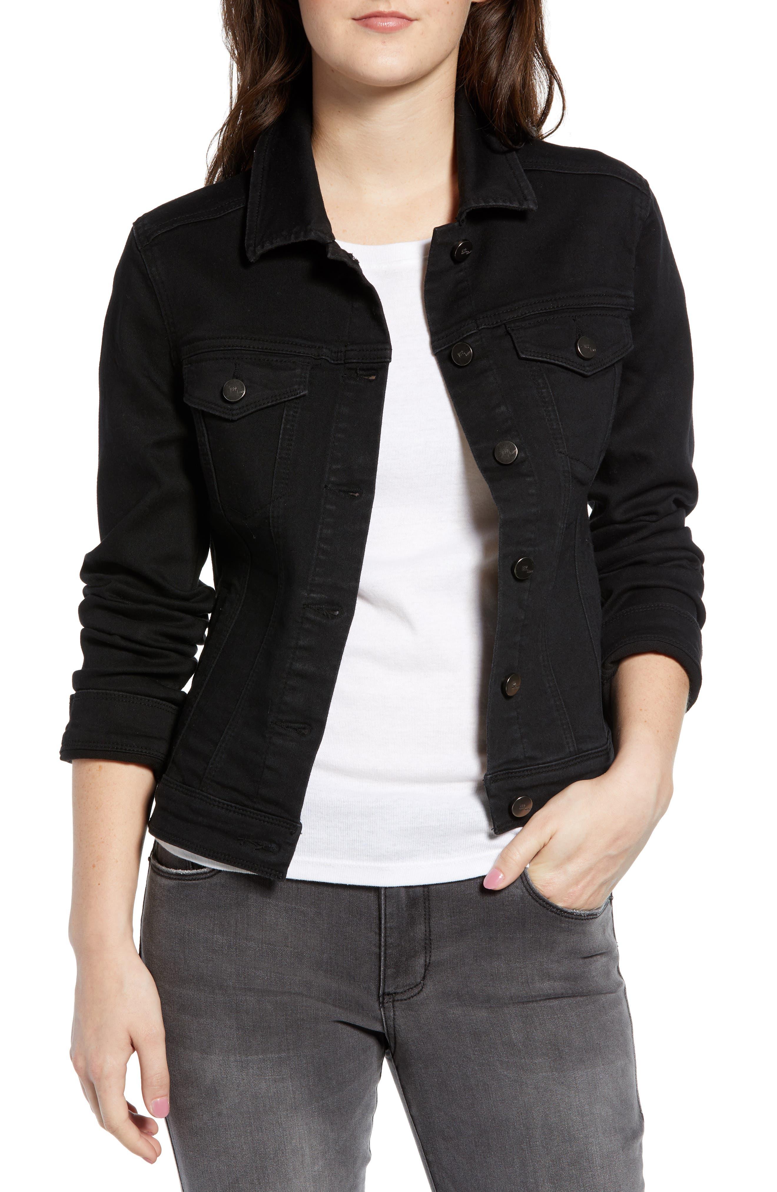 Contour Denim Jacket,                             Main thumbnail 1, color,                             BLACK