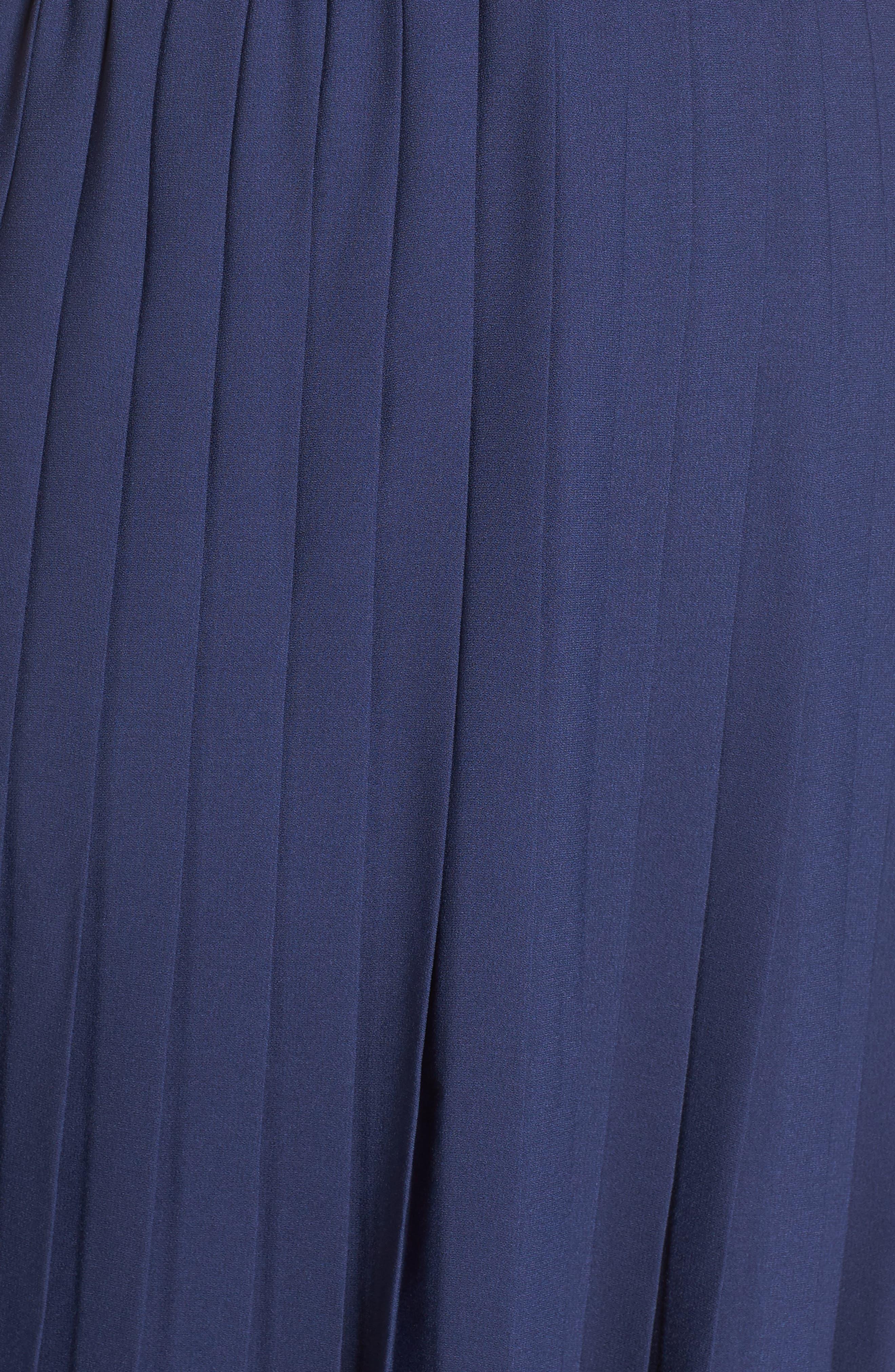 LEITH,                             Pleated Surplice Dress,                             Alternate thumbnail 12, color,                             NAVY PEACOAT