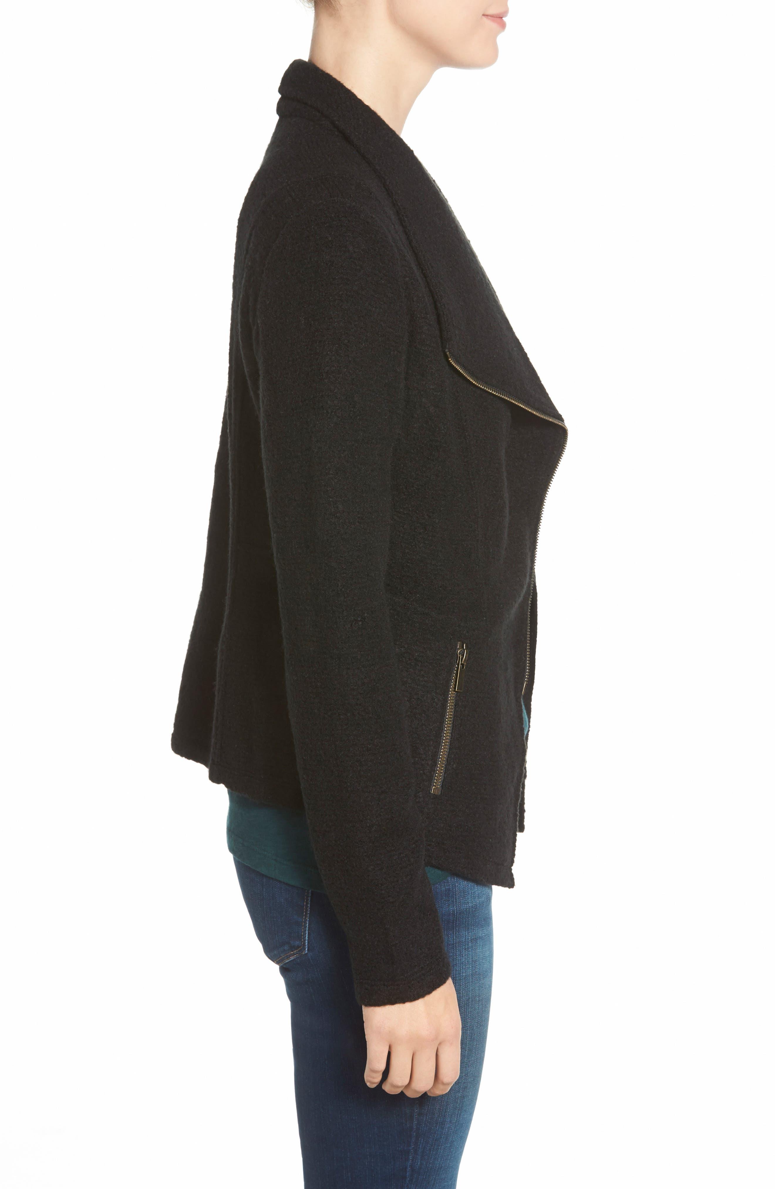 Knit Moto Jacket,                             Alternate thumbnail 4, color,                             BLACK
