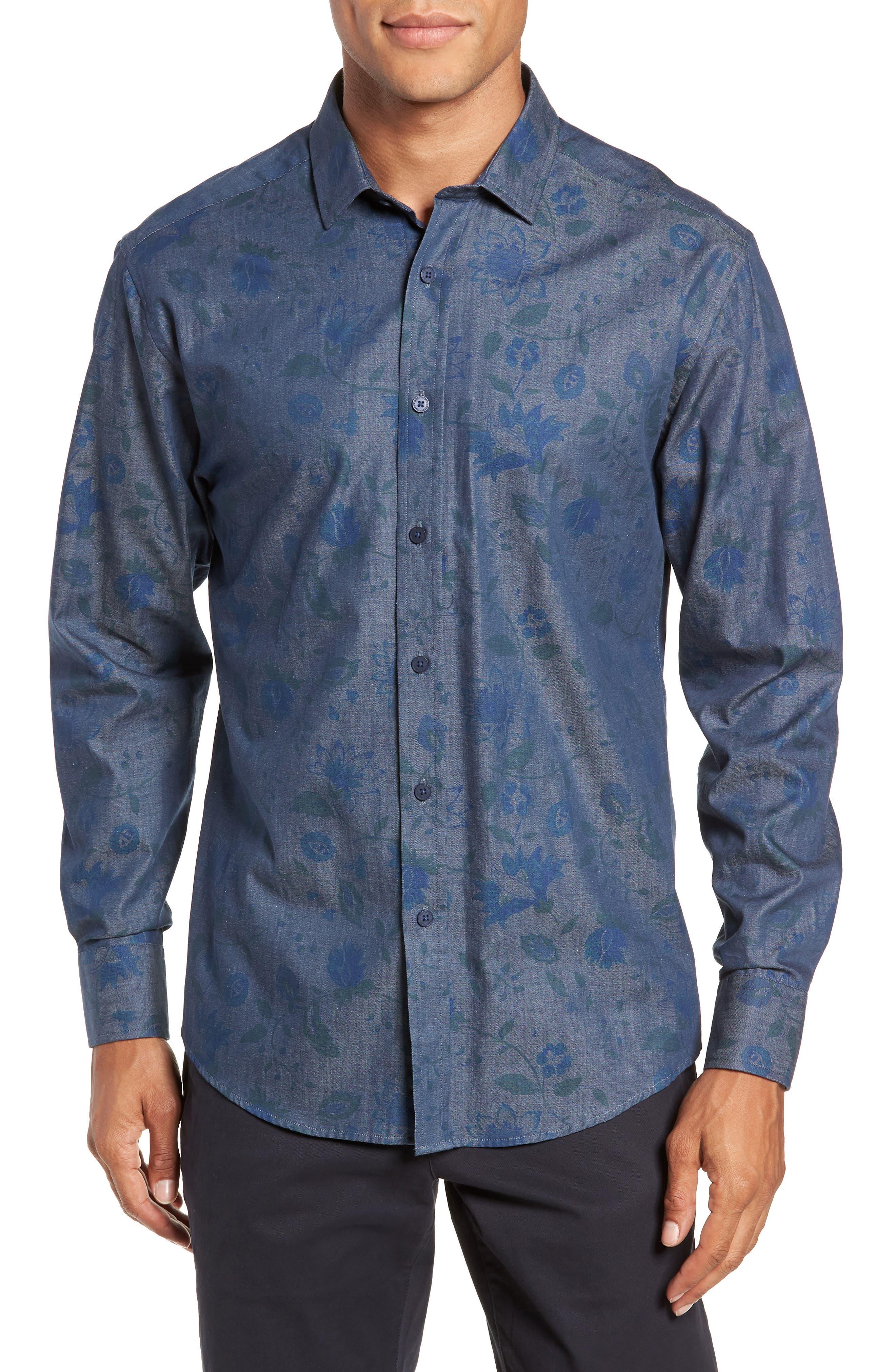 Slim Fit Floral Chambray Sport Shirt,                             Main thumbnail 1, color,                             INDIGO CHAMBRAY FLORAL PRINT