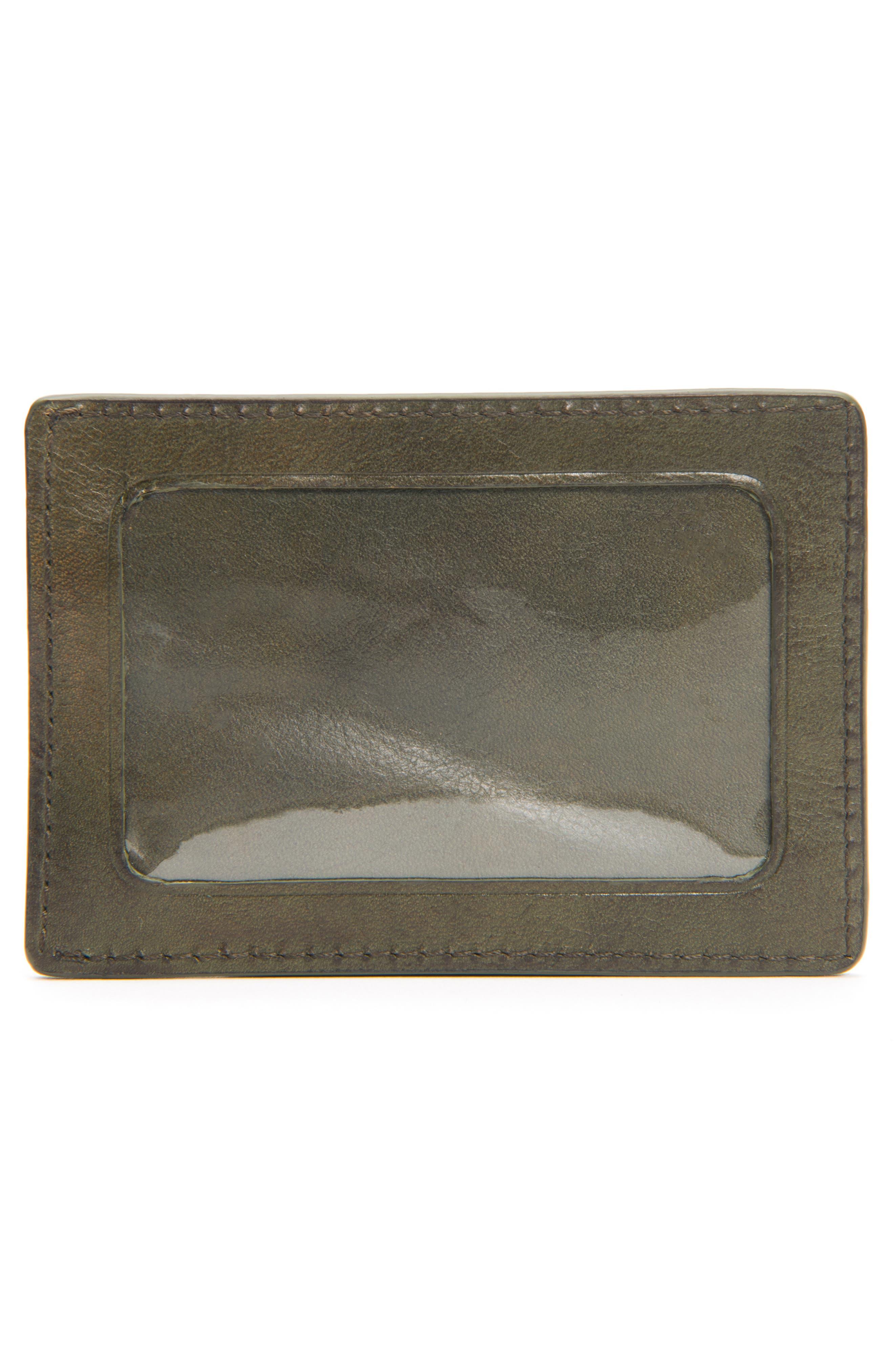 Oliver Leather Card Case,                             Alternate thumbnail 3, color,                             OLIVE
