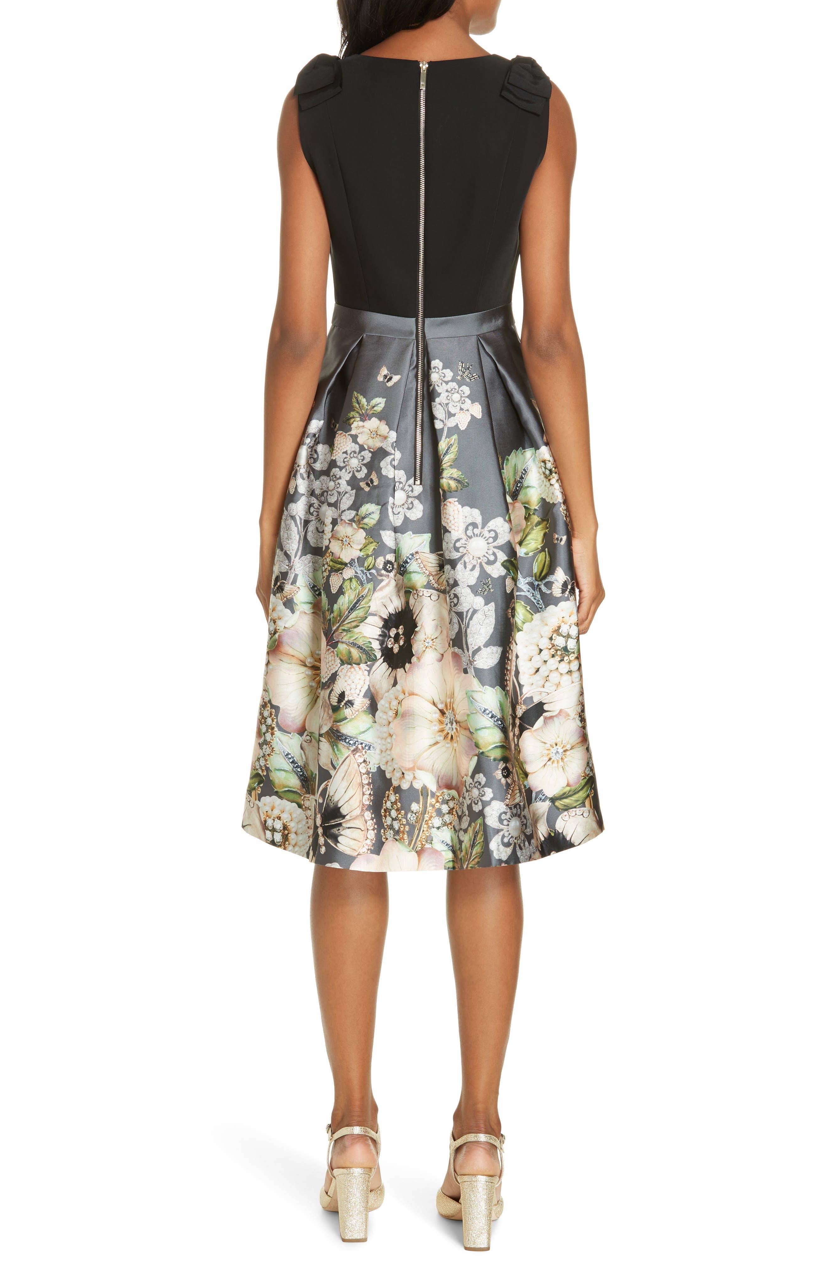 Molyka Gem Gardens Bow Dress,                             Alternate thumbnail 2, color,                             CHARCOAL