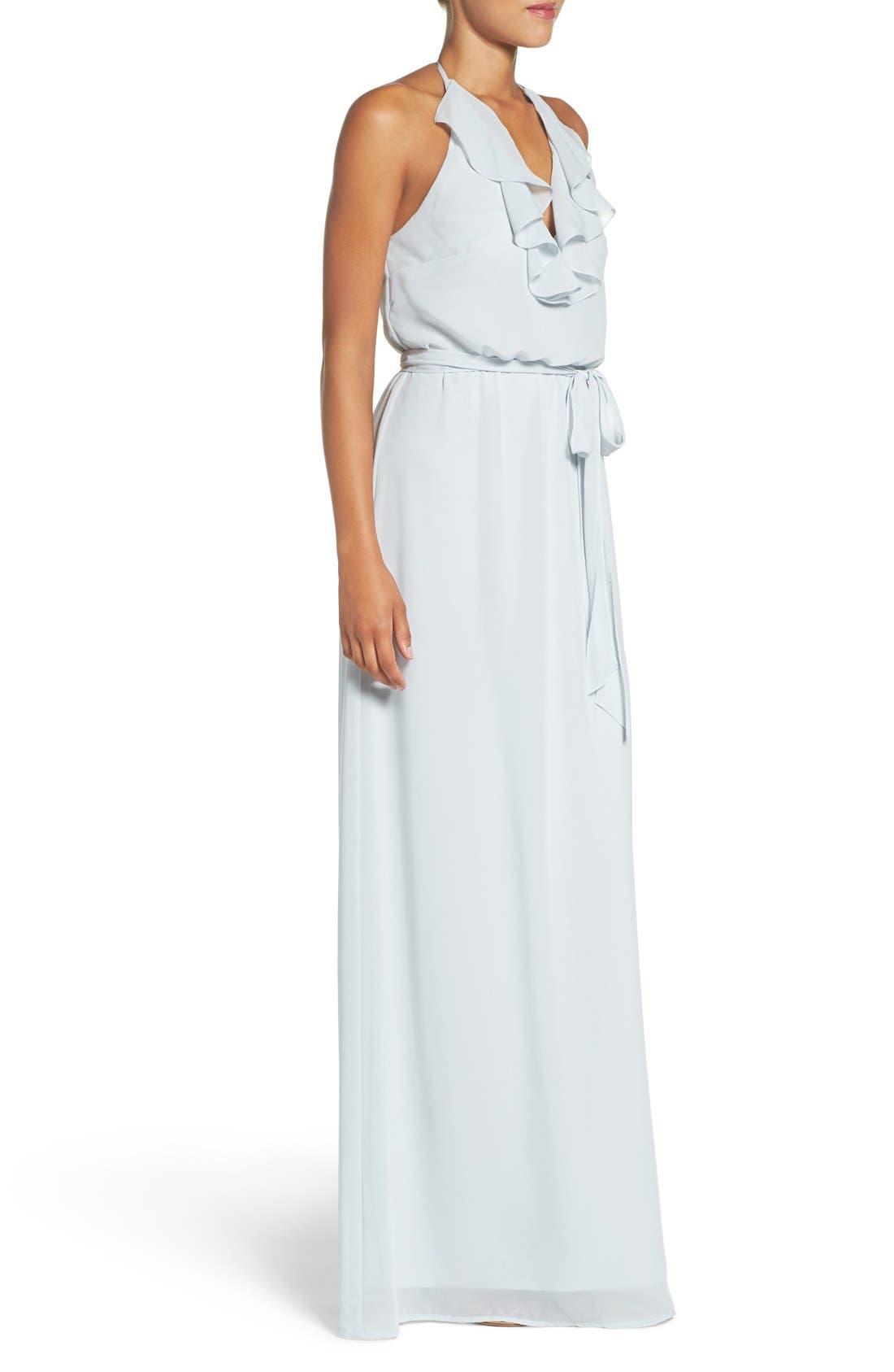 'Dani' Ruffle Neck V-Neck Halter Gown,                             Alternate thumbnail 7, color,