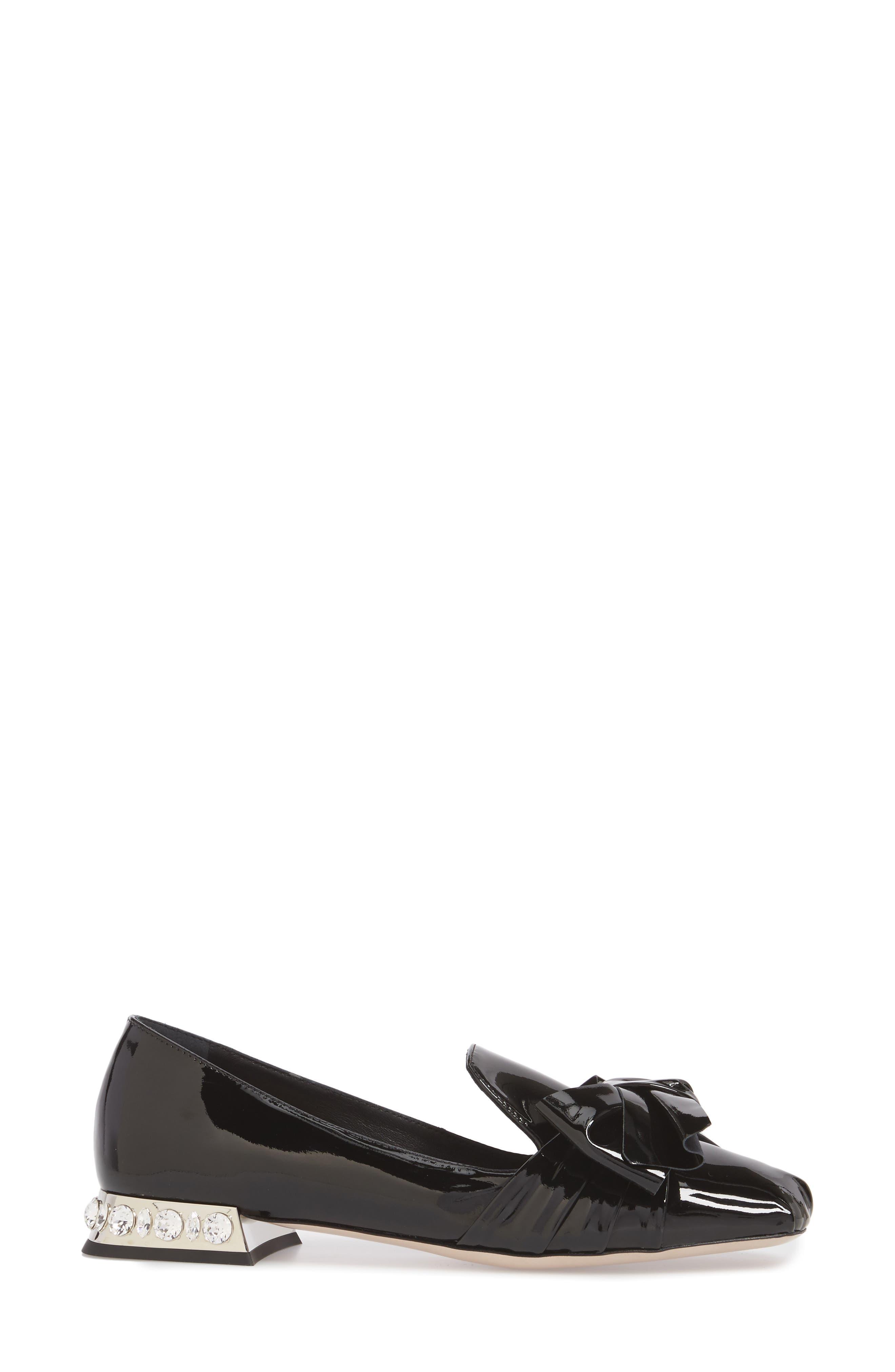 Embellished Heel Bow Loafer,                             Alternate thumbnail 3, color,                             BLACK
