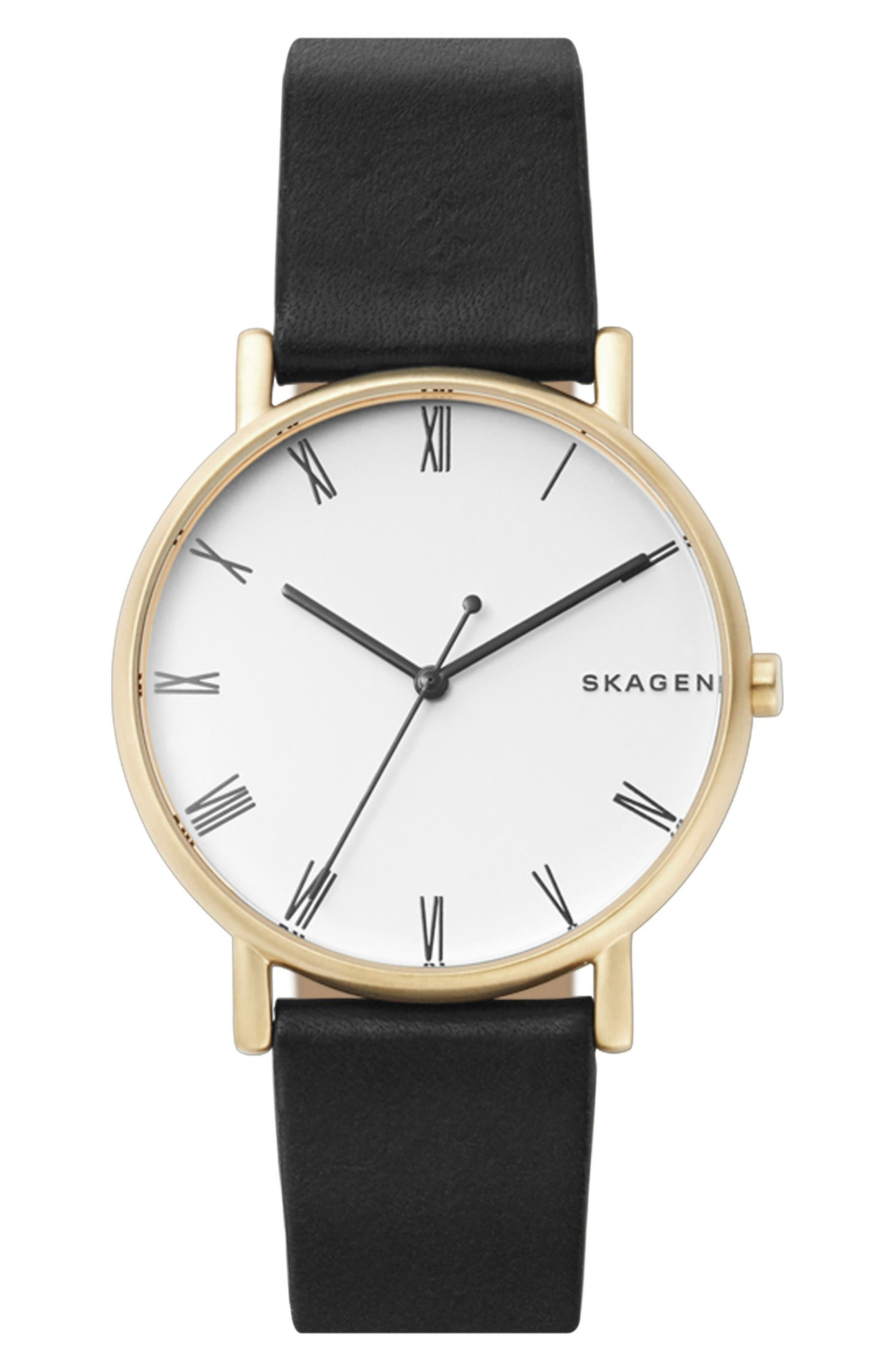 Signatur Slim Leather Strap Watch, 40mm,                         Main,                         color, 001
