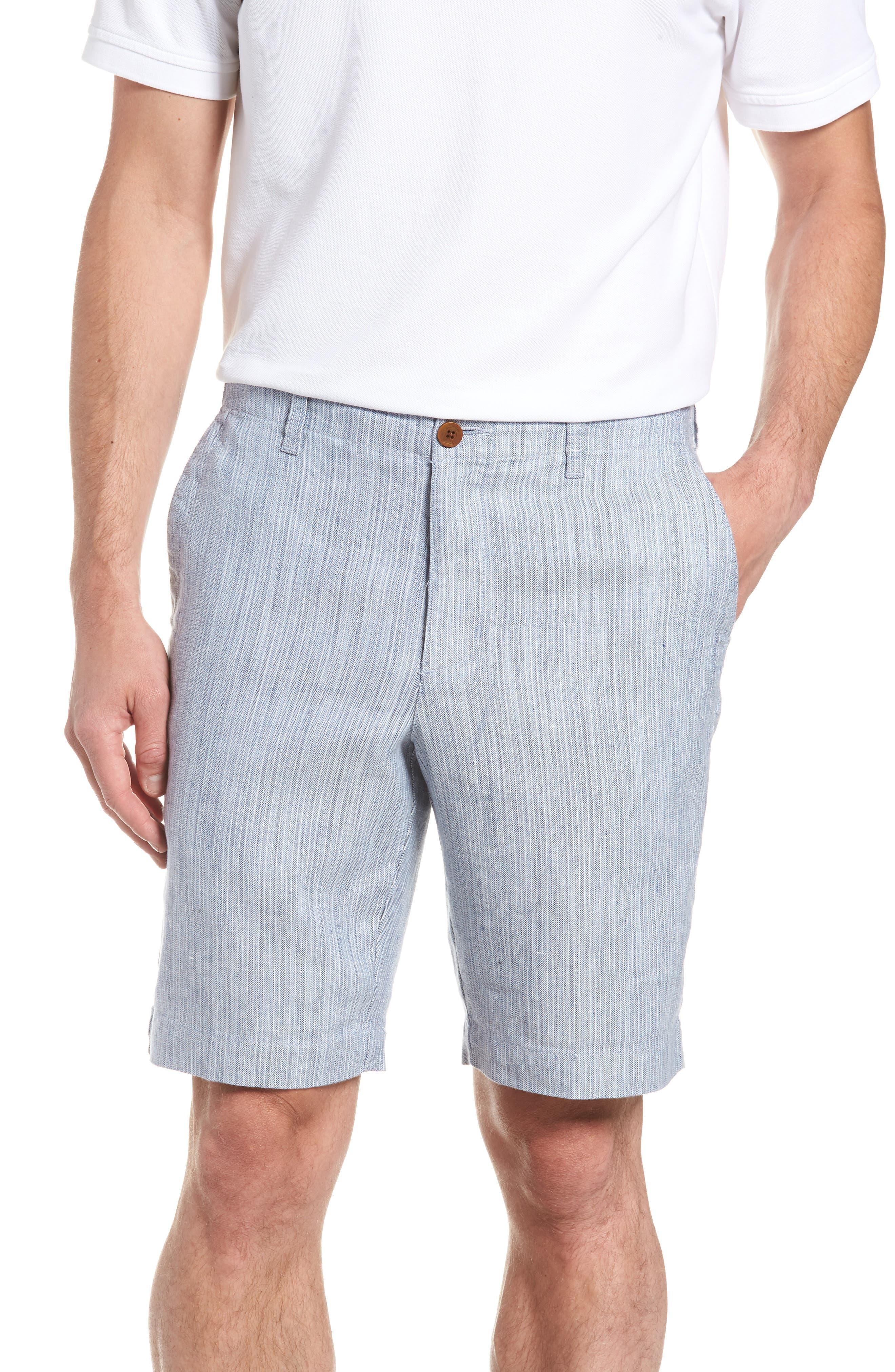Harbor Herringbone Linen Blend Shorts,                         Main,                         color, CHAMBRAY