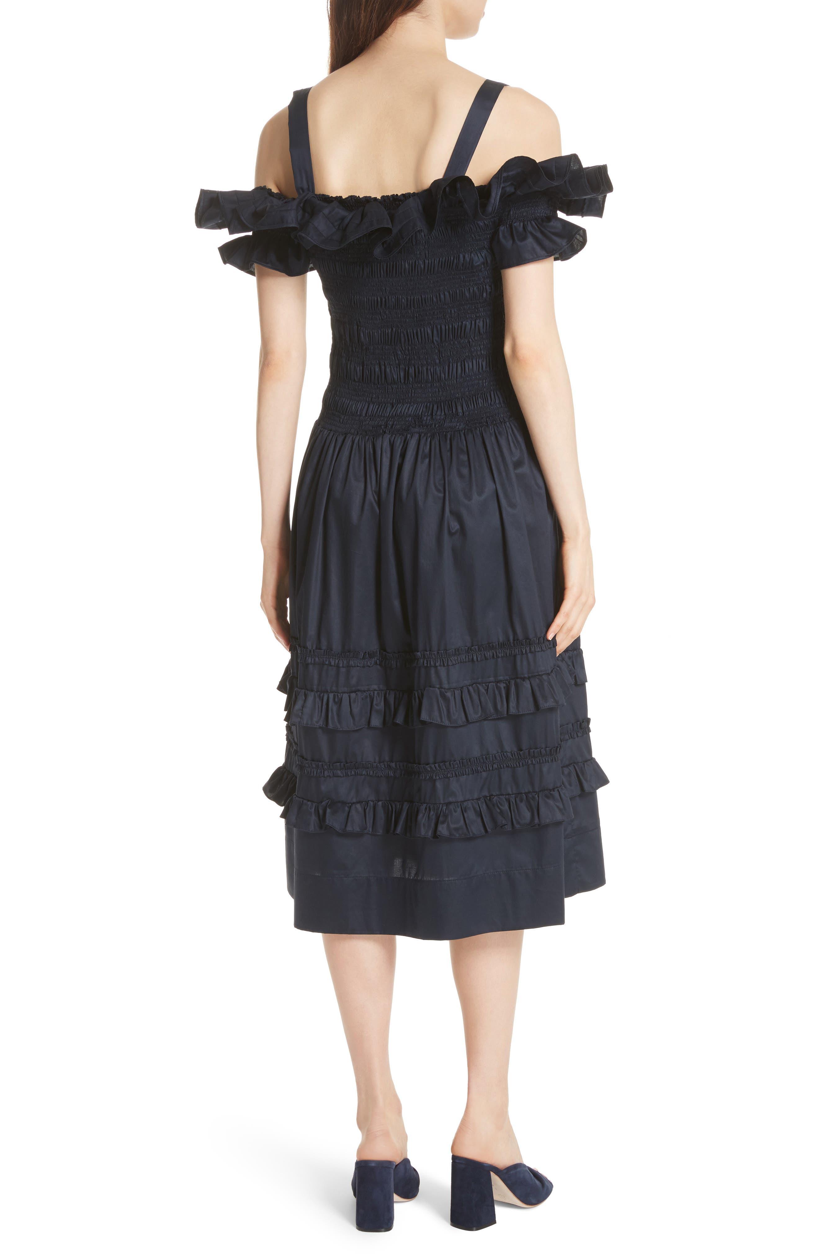 Cold Shoulder Smocked Cotton Dress,                             Alternate thumbnail 2, color,                             410