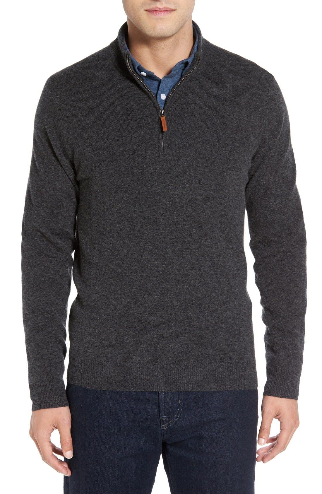 Cashmere Quarter Zip Sweater,                             Main thumbnail 4, color,