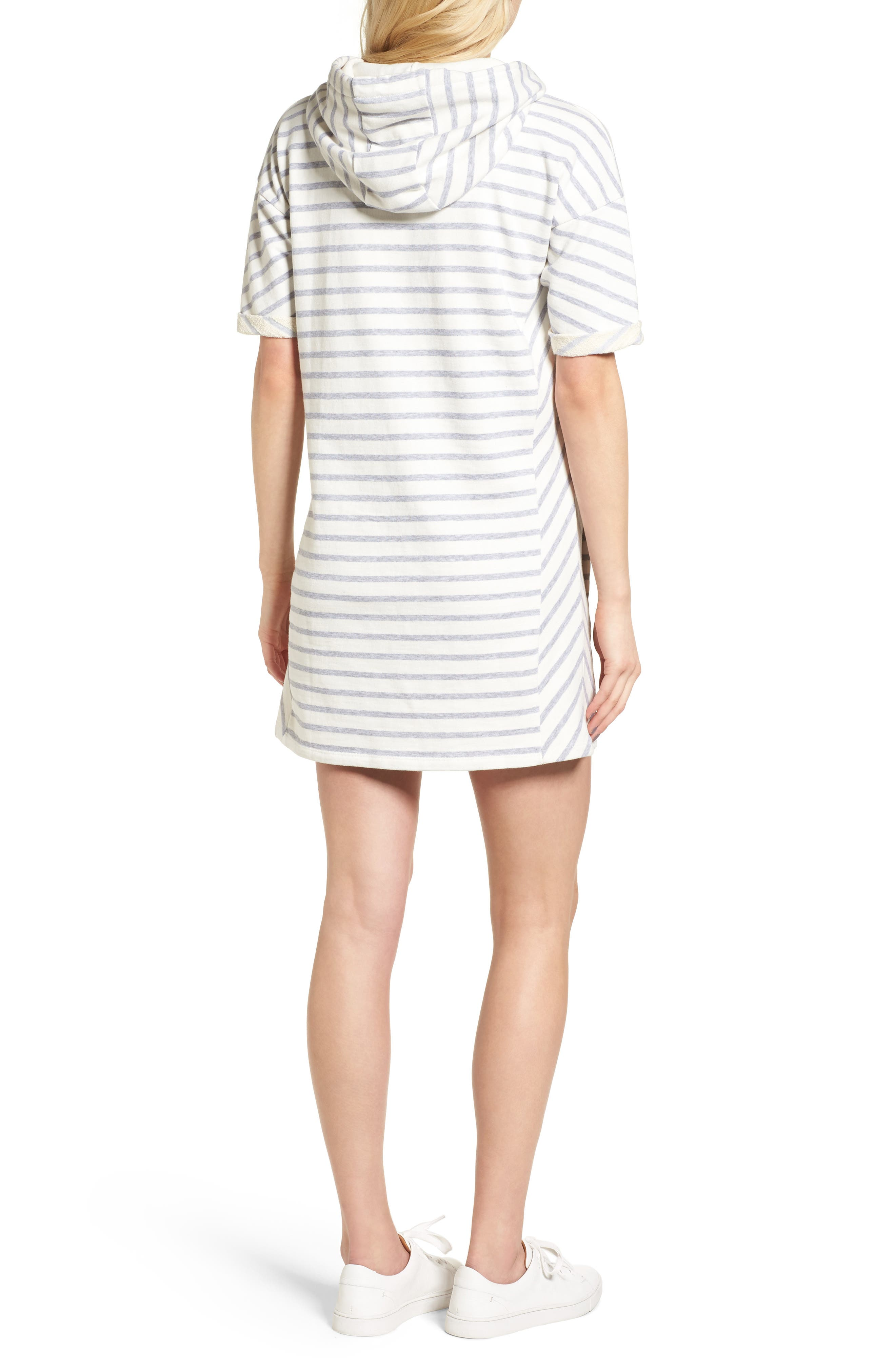 Dive Stripe Terry Hooded Dress,                             Alternate thumbnail 4, color,