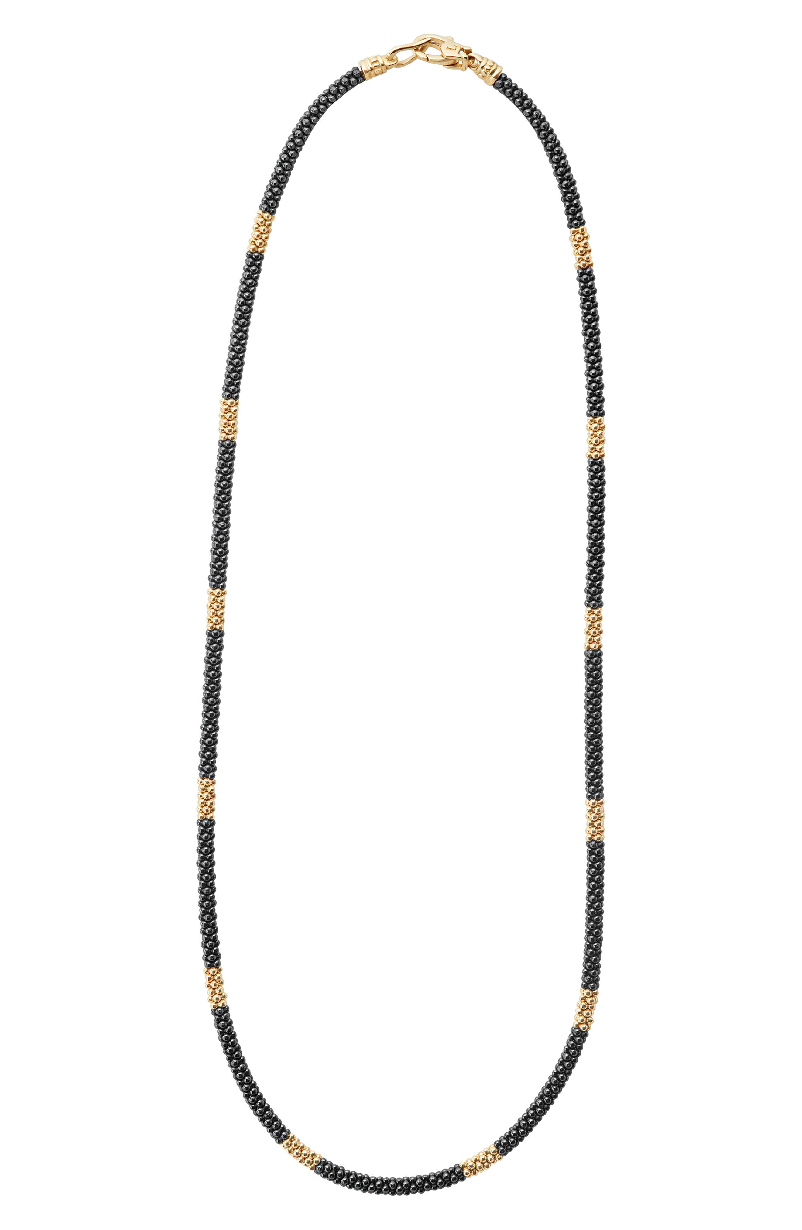 Gold & Black Caviar Rope Necklace,                             Main thumbnail 1, color,                             GOLD