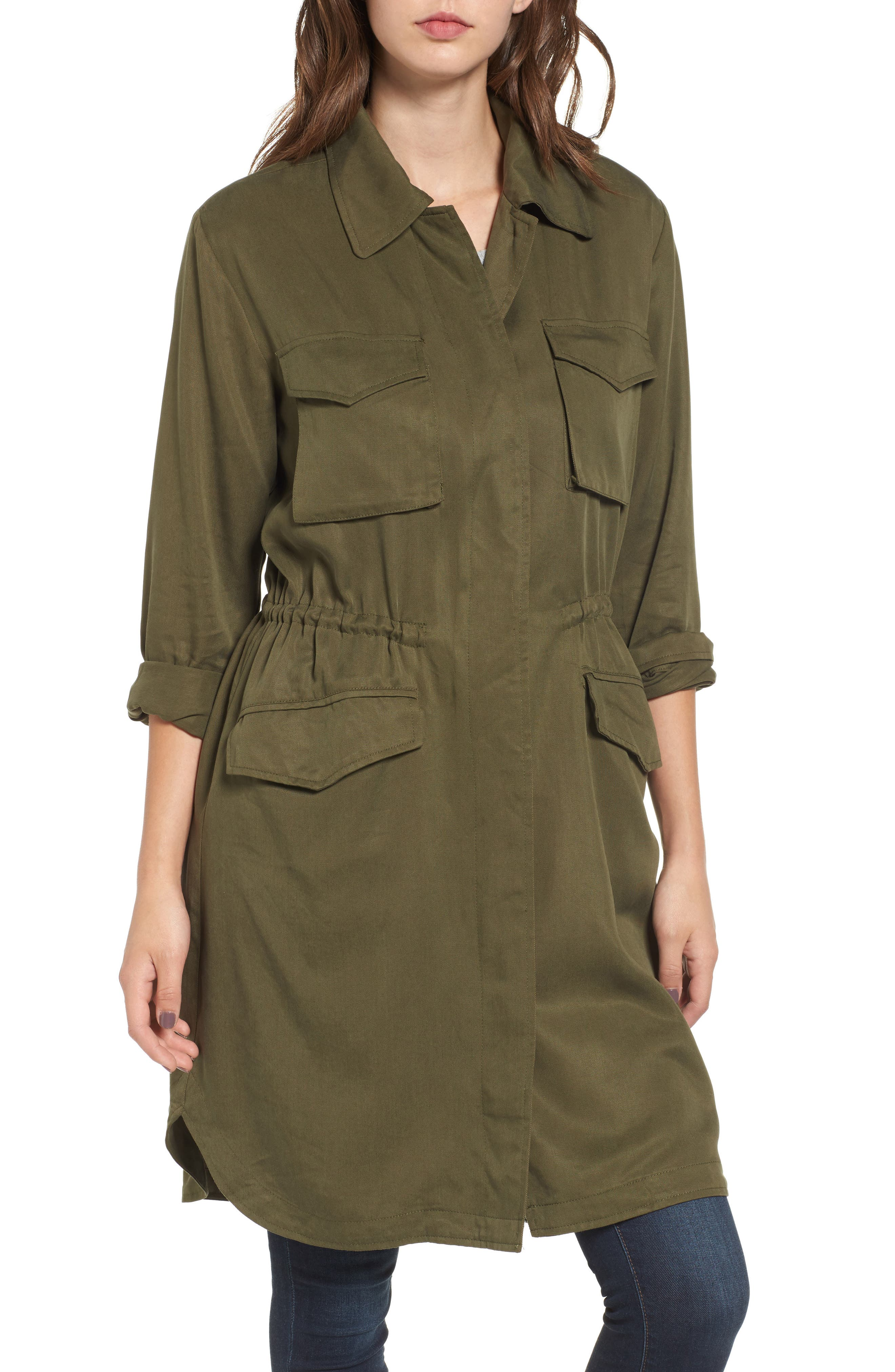 Averie Drawstring Waist Army Coat,                             Alternate thumbnail 5, color,
