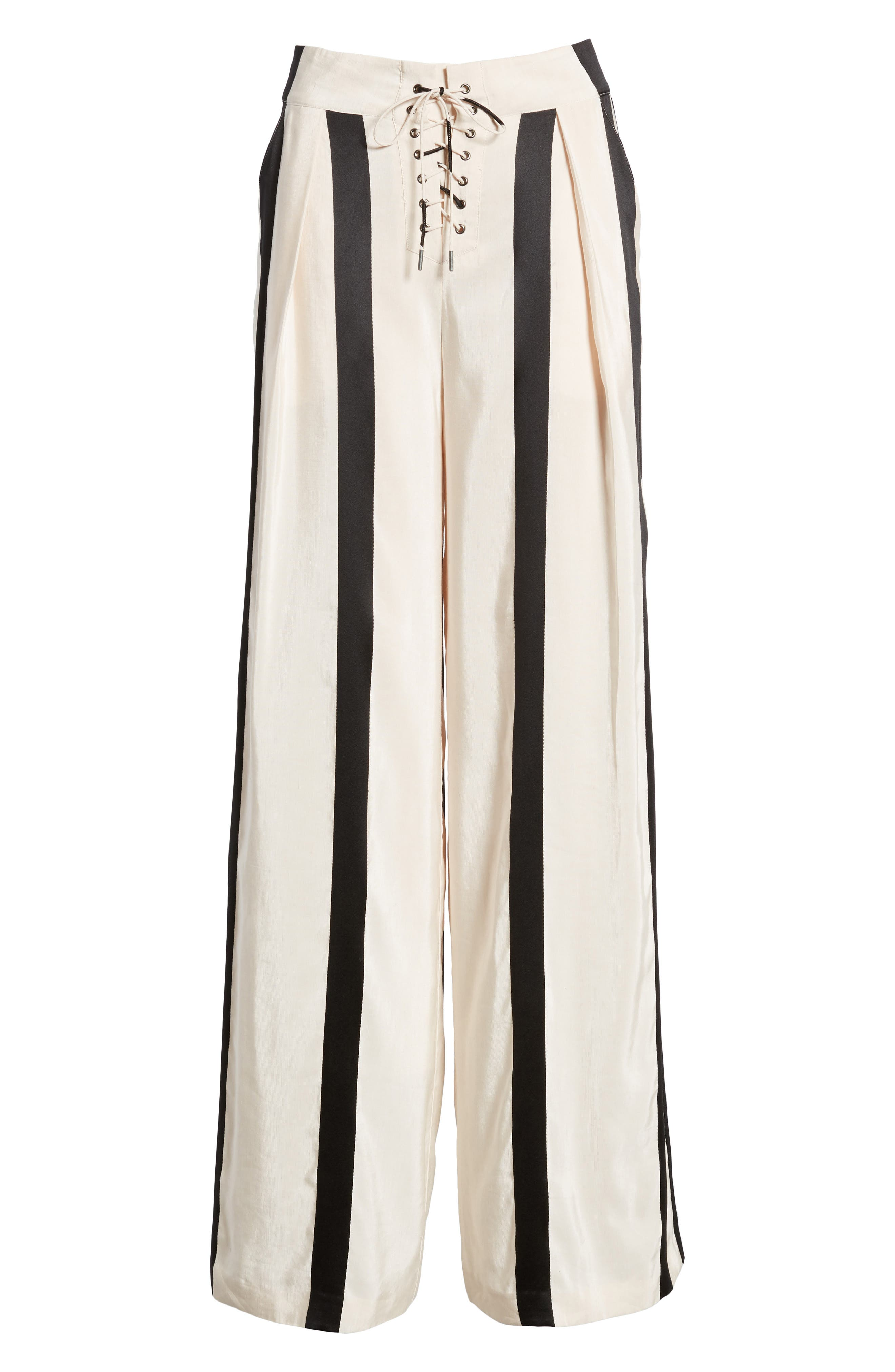 Capucine High Waist Wide Leg Pants,                             Alternate thumbnail 3, color,                             BLUSH WITH BLACK