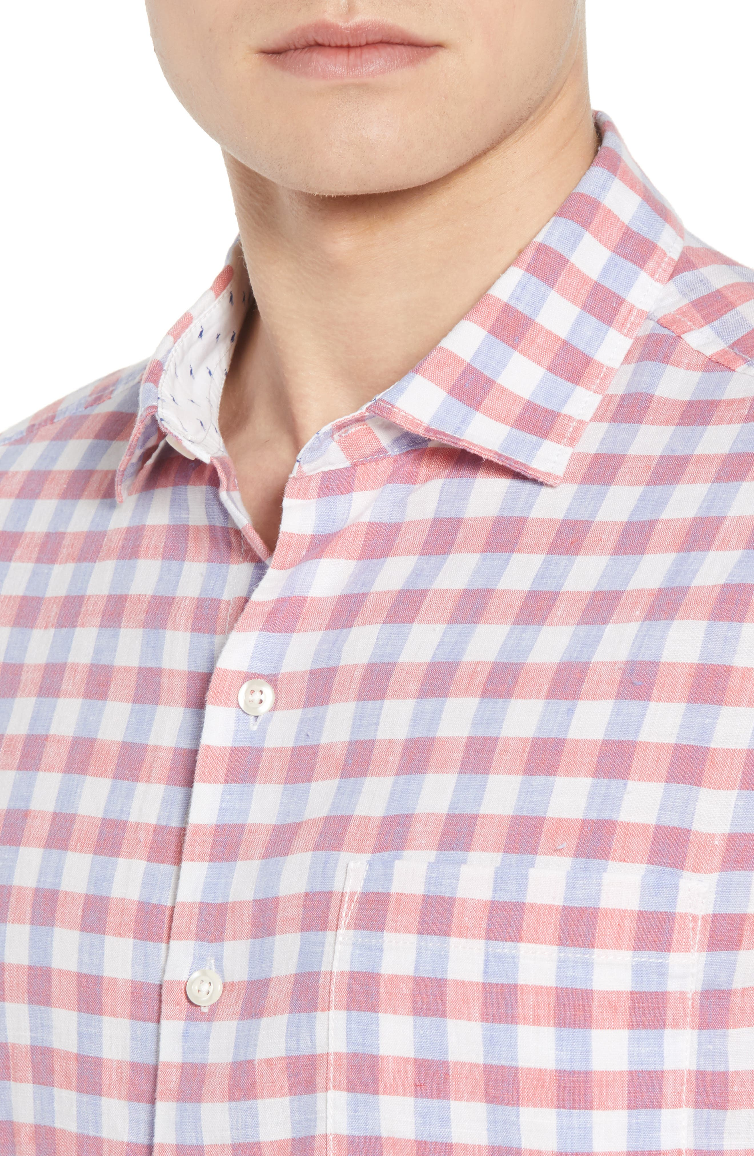 Diego Fronds Check Sport Shirt,                             Alternate thumbnail 4, color,                             200
