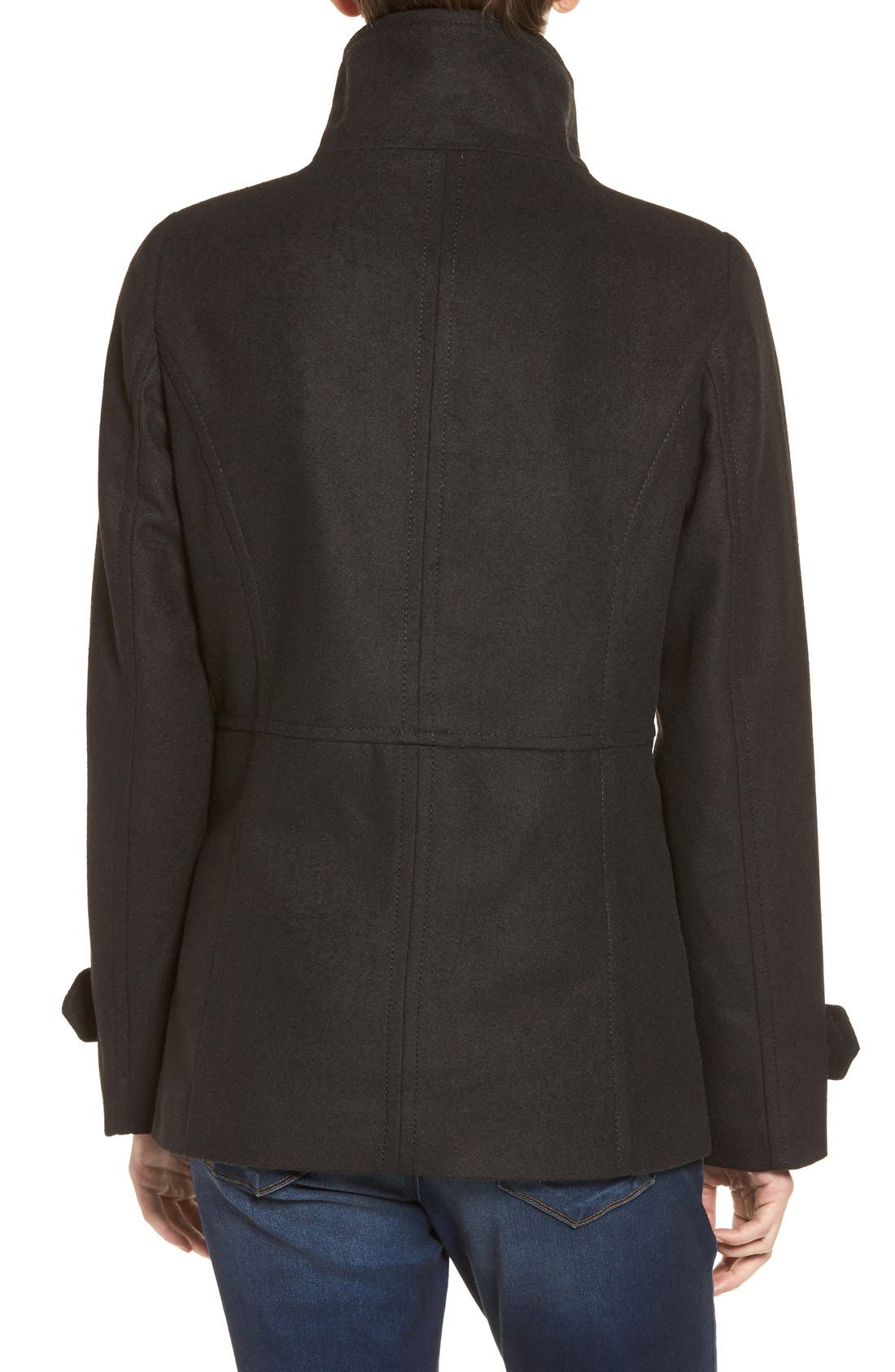 THREAD & SUPPLY,                             Double Breasted Peacoat,                             Alternate thumbnail 4, color,                             BLACK